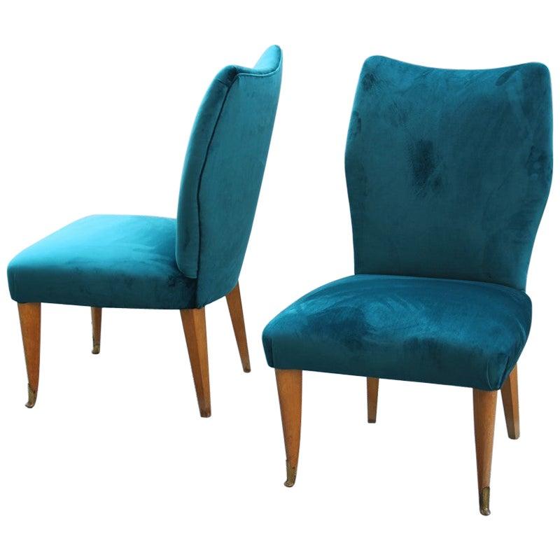 Room Set Pair of Chairs Green Velvet Ashwood Italian Design Midcentury, 1950s