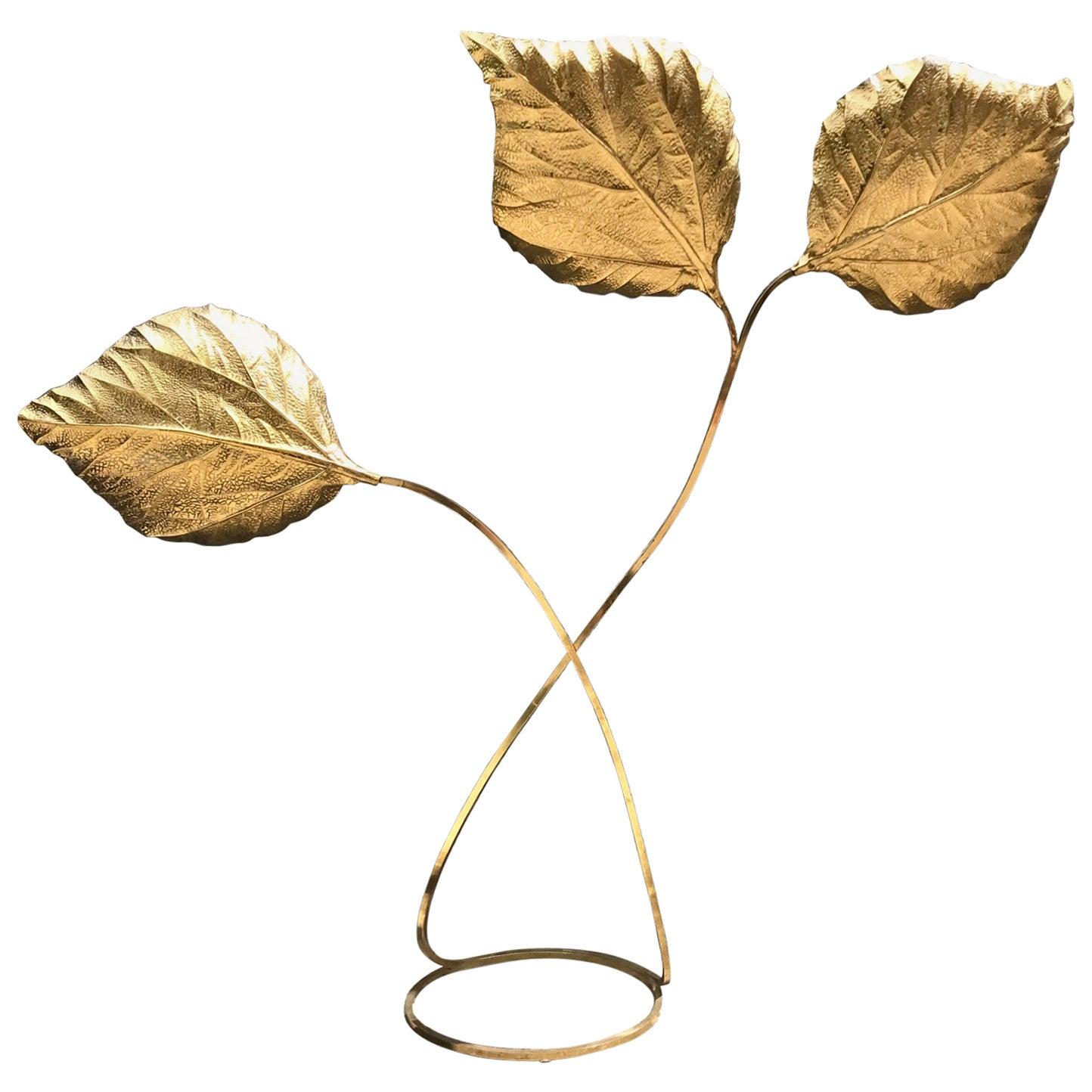 Italian Three-Leaf Rhubarb Floor Lamp, Tommaso Barbi, 1970