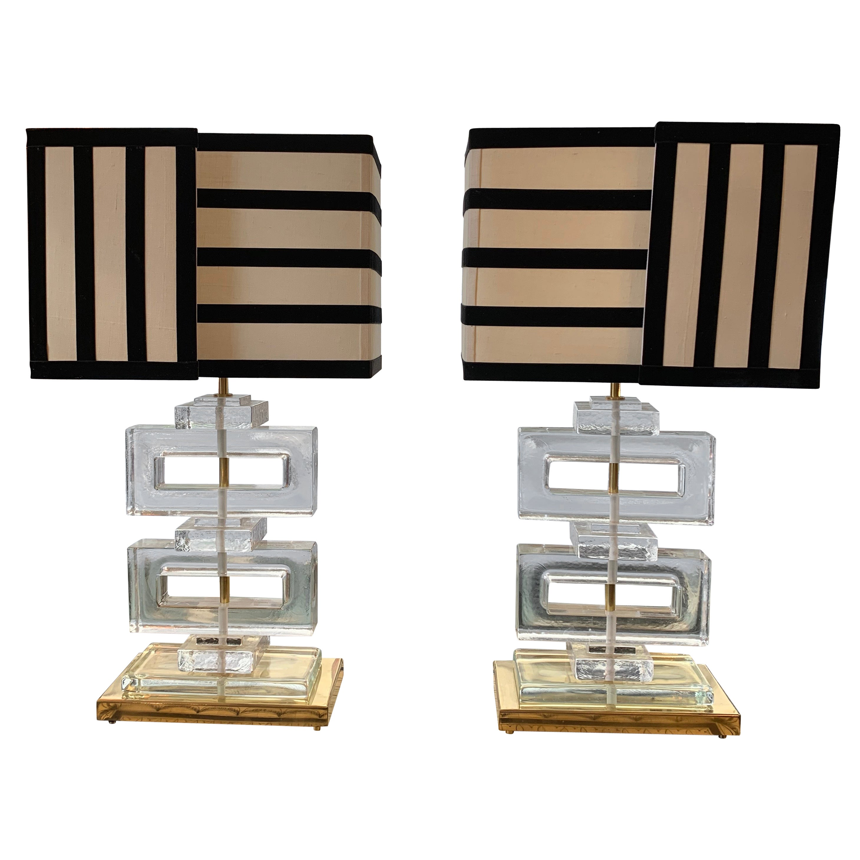 Clear Glass Murano Blocks Lamps with Striped Black and White Lampshades, 1970s