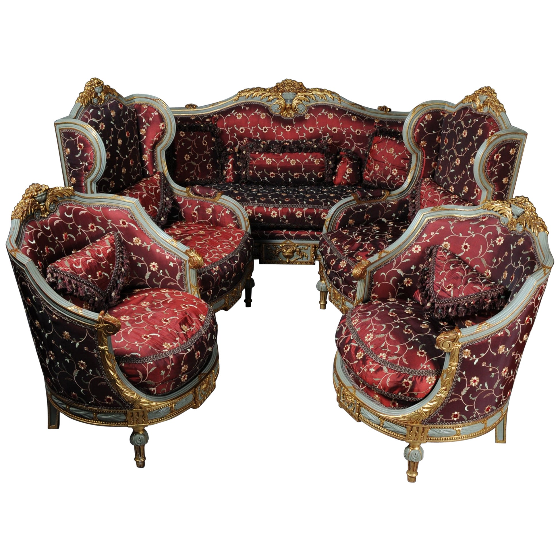 20th Century Unique French Salon Seating Group in Louis XVI Style