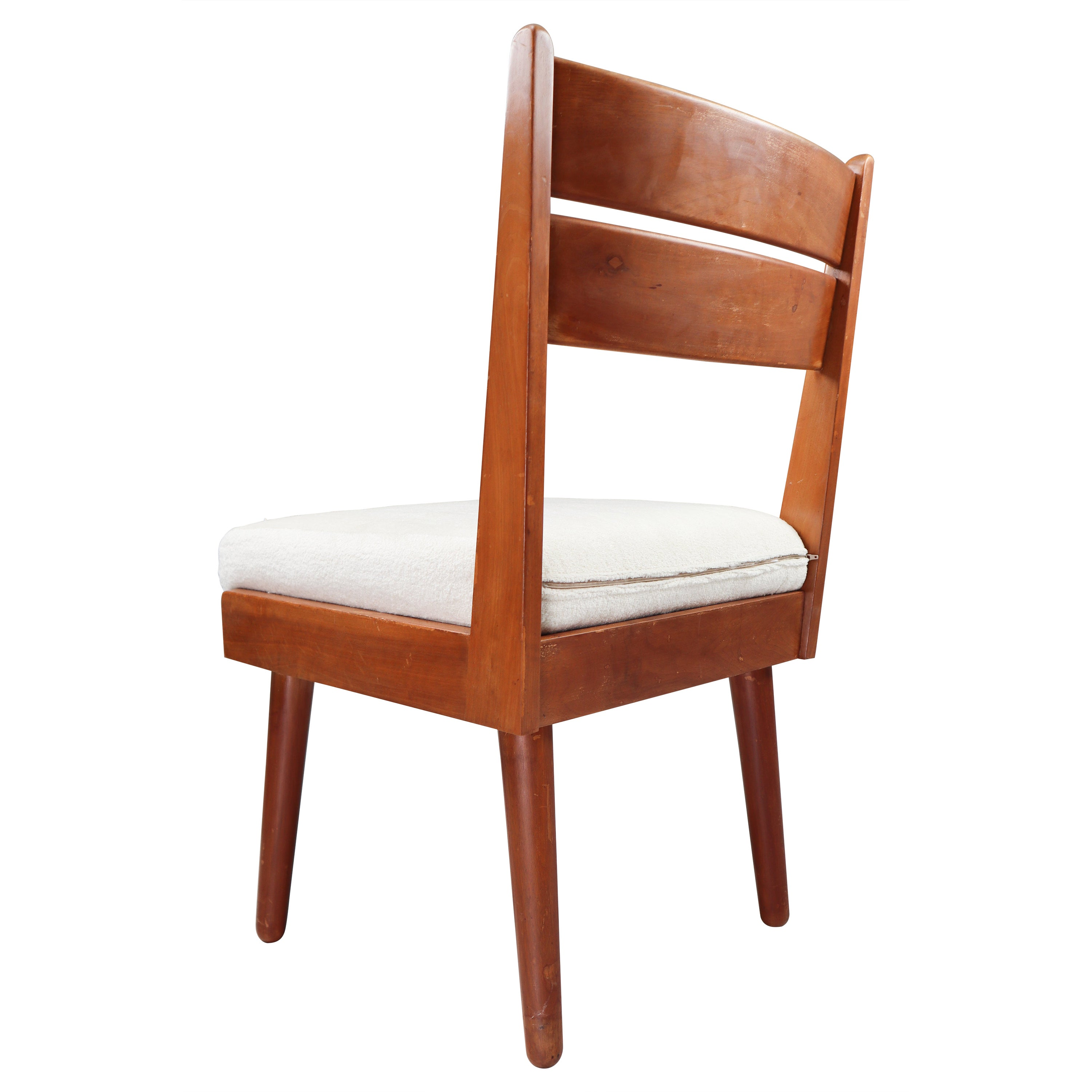 Midcentury French Chair in Walnut and Wool Fabric, 1950s