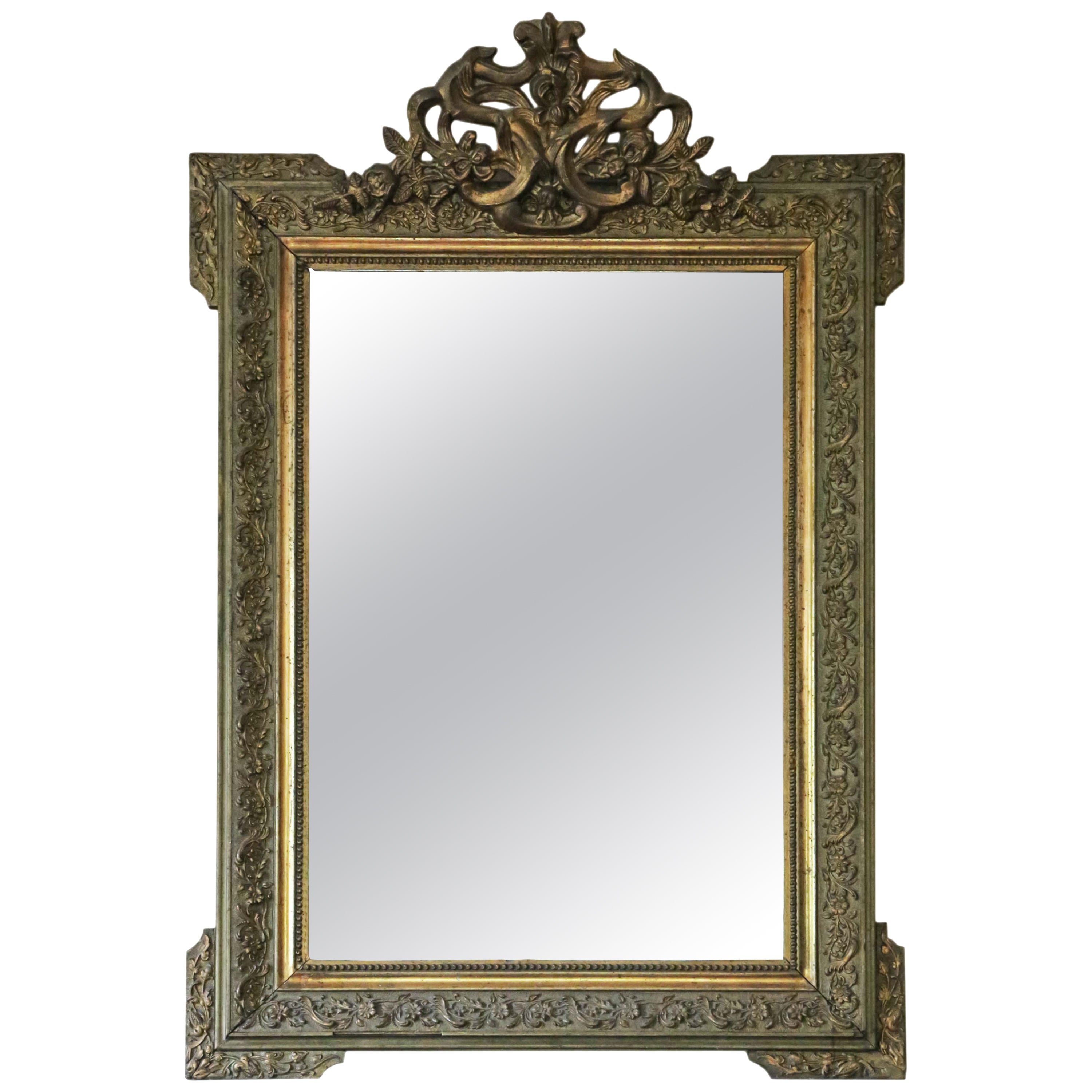 Antique Large 19th Century French Gilt Overmantle Wall Mirror