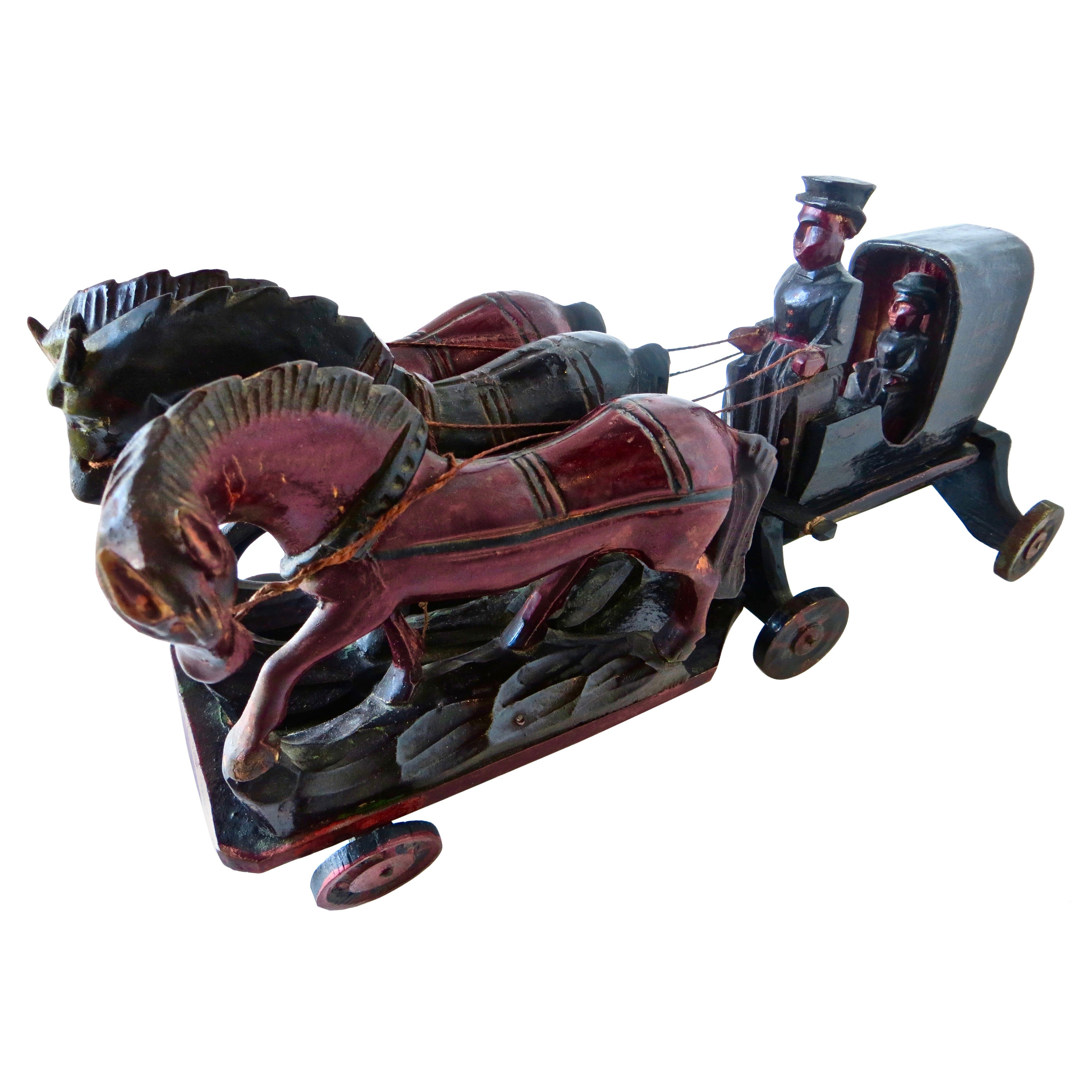 Prototype Late 19th Century Hand Carved Toy Horse Drawn Hansom Cab, American