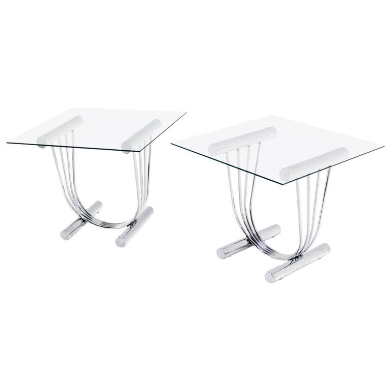 Pair of Chrome and Glass-Top End Tables with U-Shape Bases