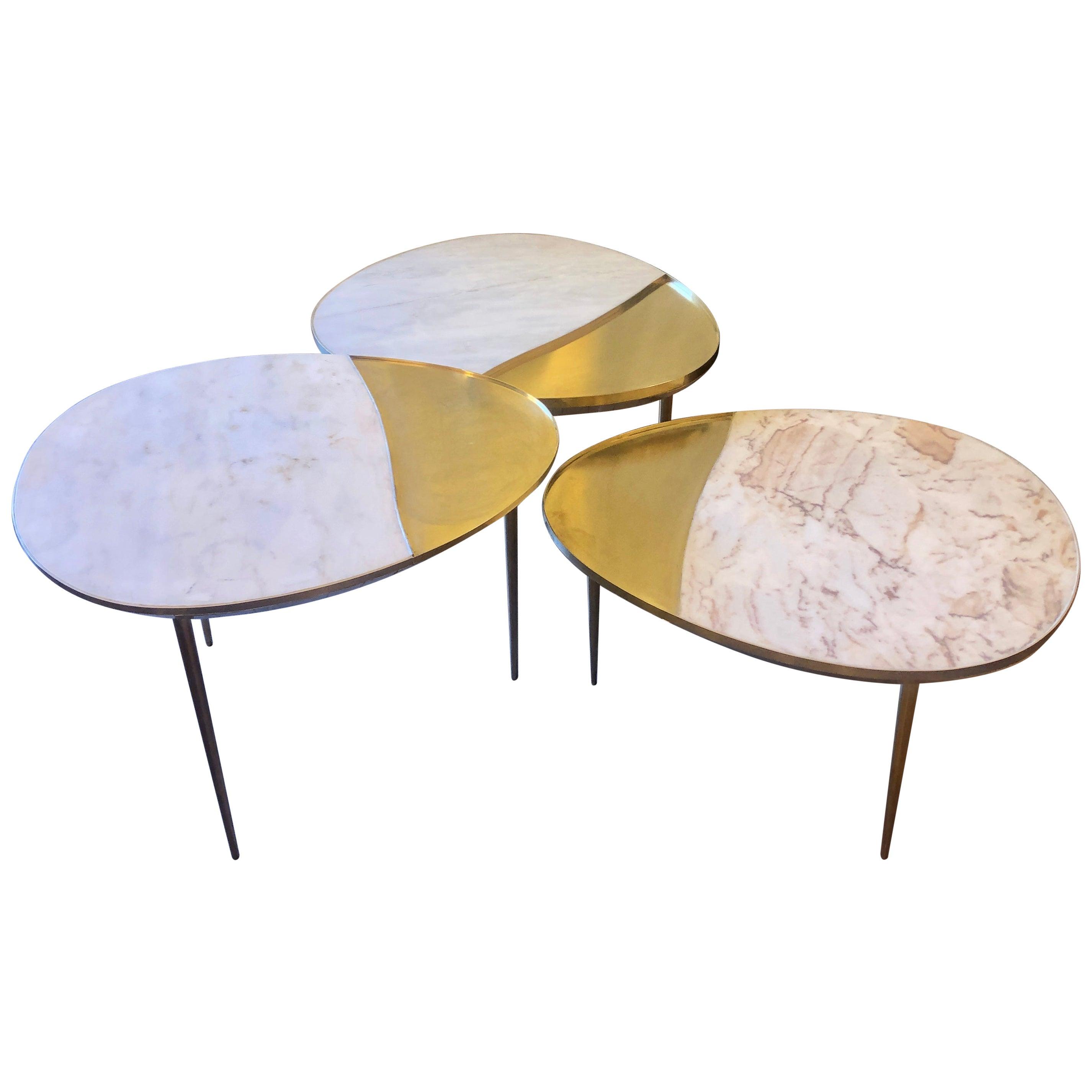 Italian White Marble & Brass Set of Three Ovaloid Coffee Tables