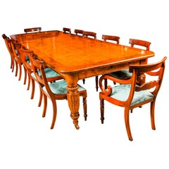 Antique Pollard Oak Victorian Extending Dining Table and 12 Barback Chairs