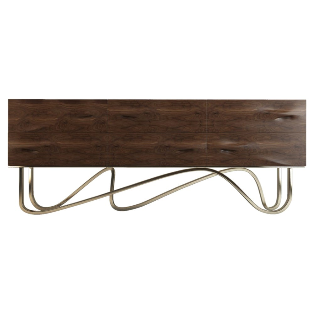 21st Century Goldberg Sideboard Walnut Wood Polished Brass