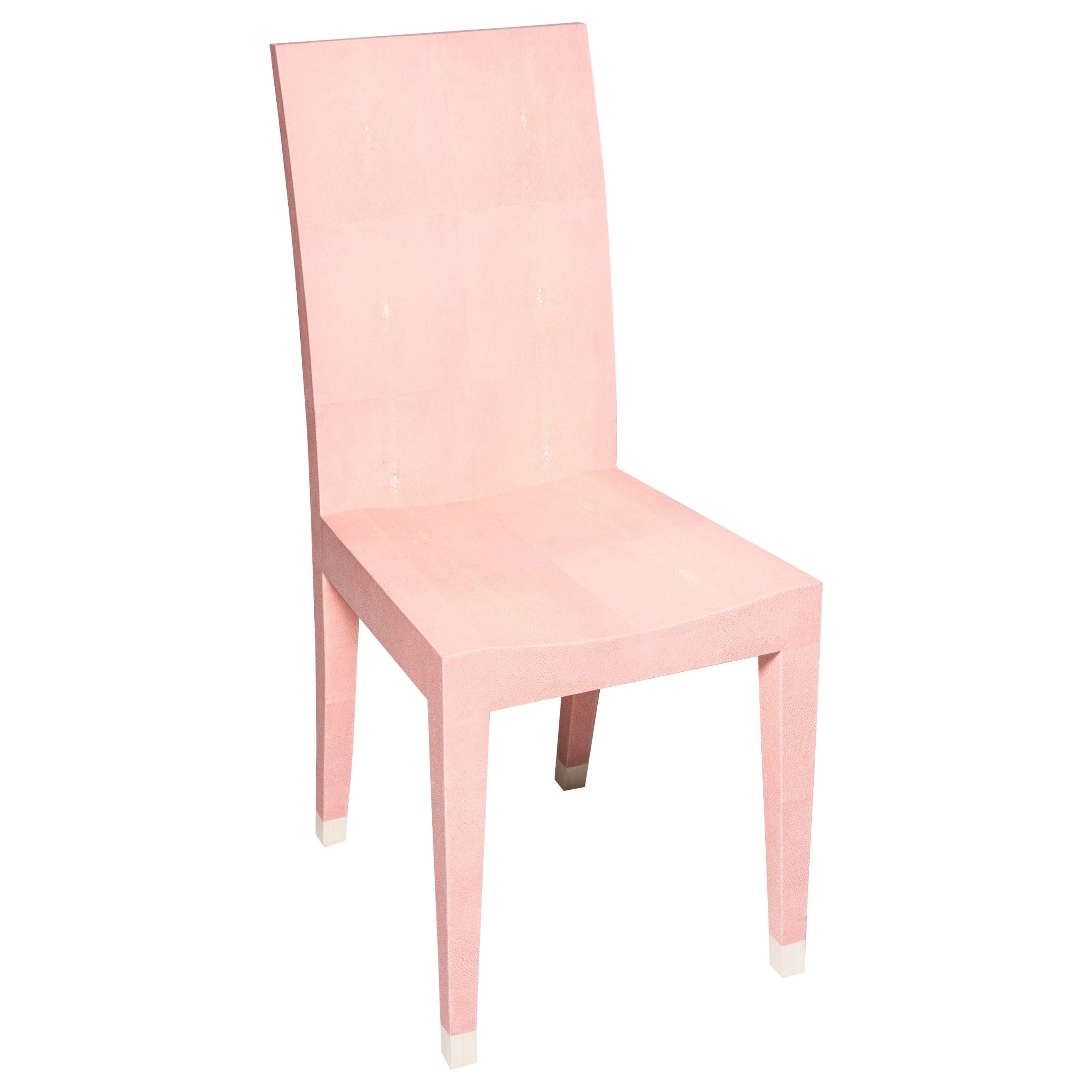 Contemporary Authentic Shagreen Rose De Paris Pink Chair