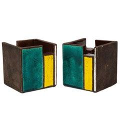 Bitossi Cigar Ashtrays, Ceramic, Green, White and Yellow Stripes, Signed