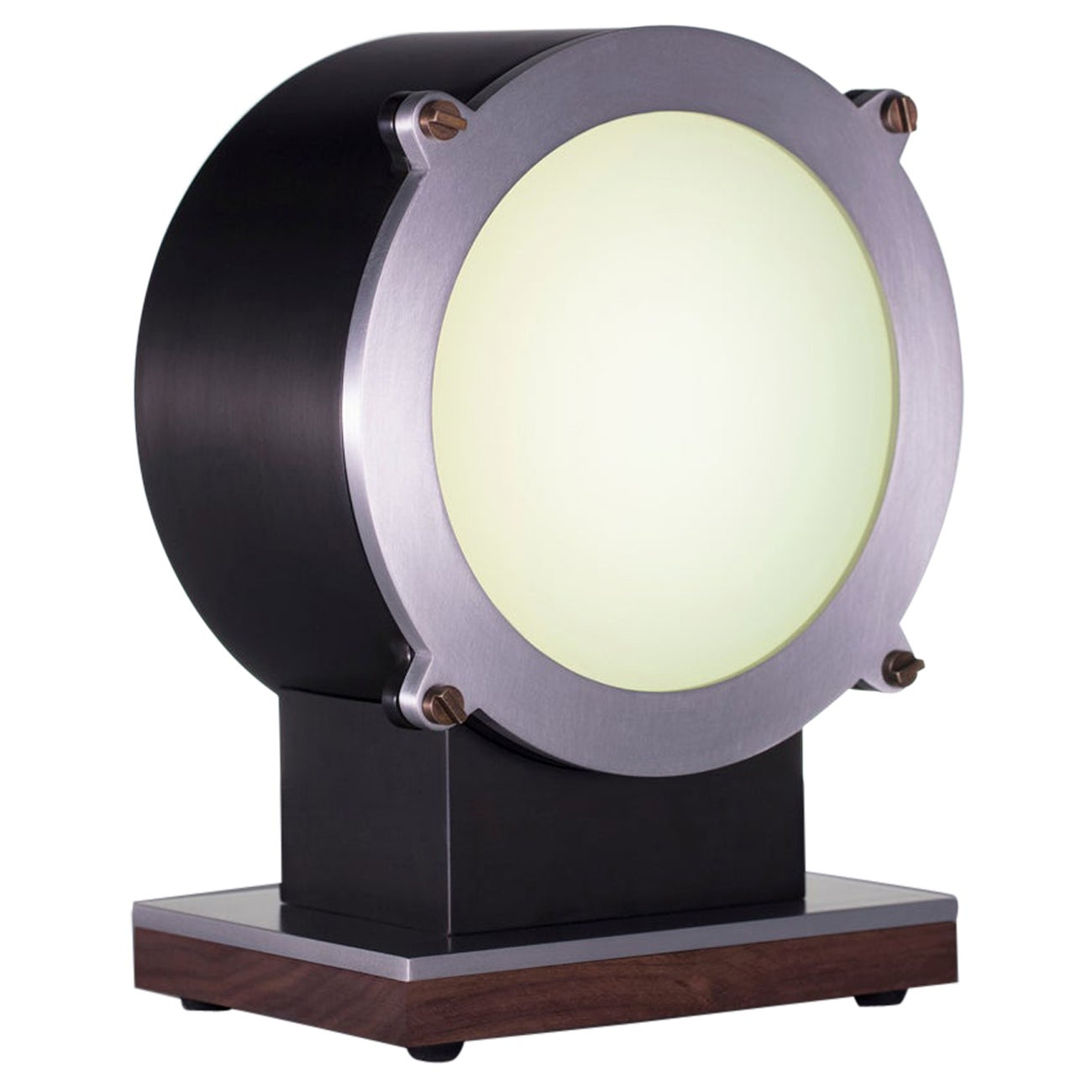 Modern Industrial Small Round faced Steel & Aluminum Table Lamp with Brass and W
