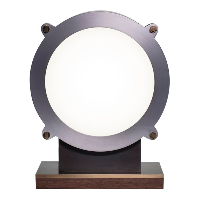 Modern Industrial Large Round faced Steel & Aluminum Table Lamp with Brass and W