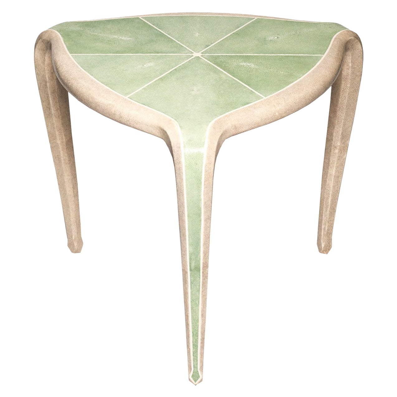 Contemporary Authentic Shagreen Tripod Table in Celadon Green