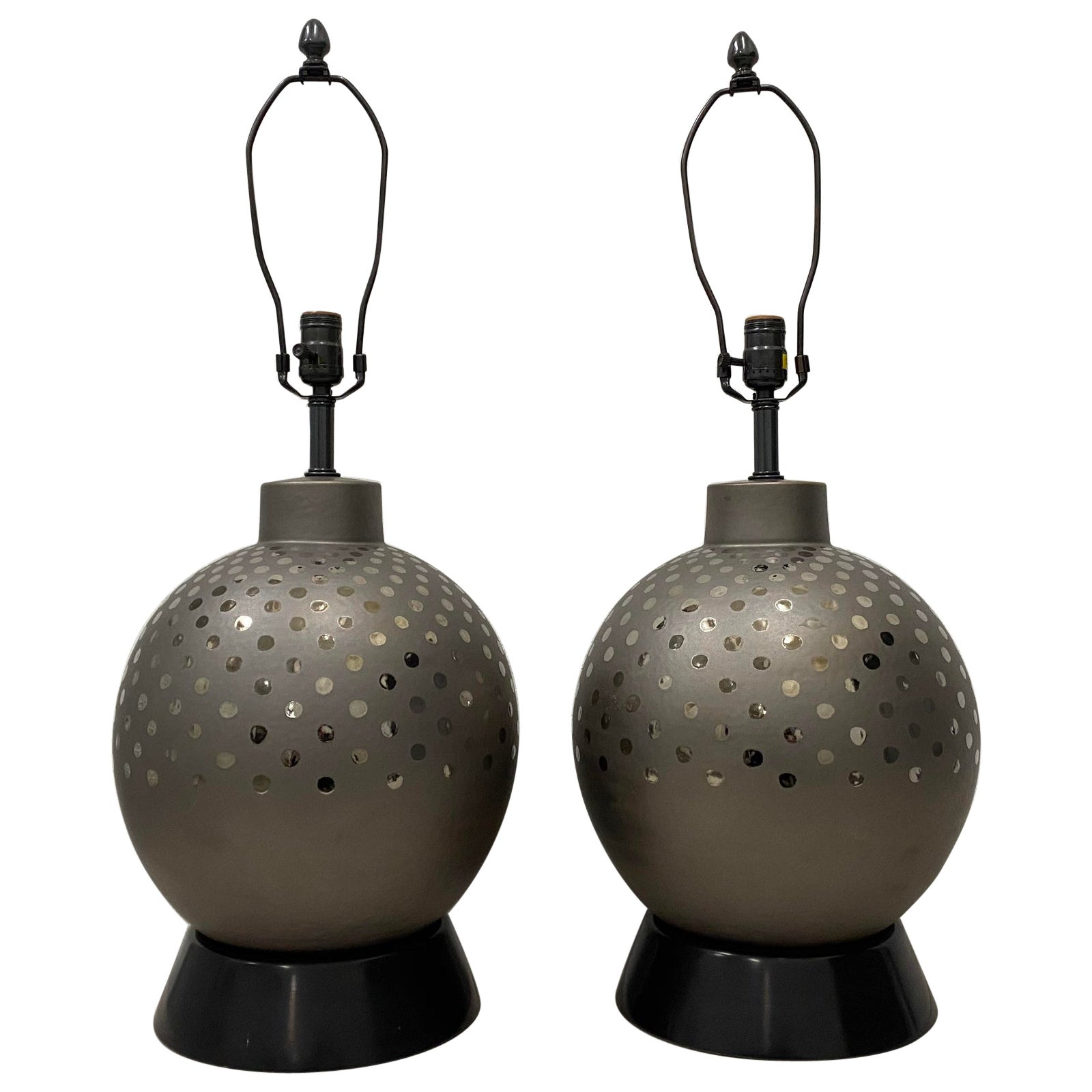 Pair of Vintage Ceramic Metallic Silver Glaze Ball Lamps by Marbro, circa 1970
