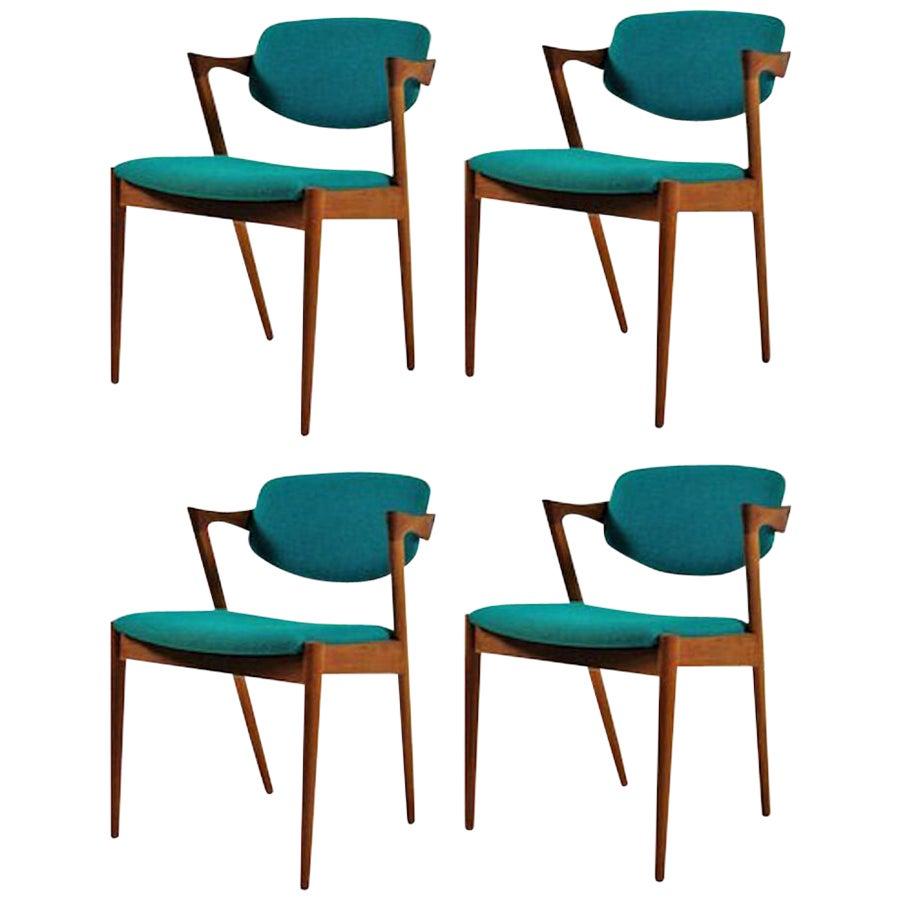 1960s Kai Kristiansen Set of 4 Danish Dining Chairs in Teak Inc Reupholstry