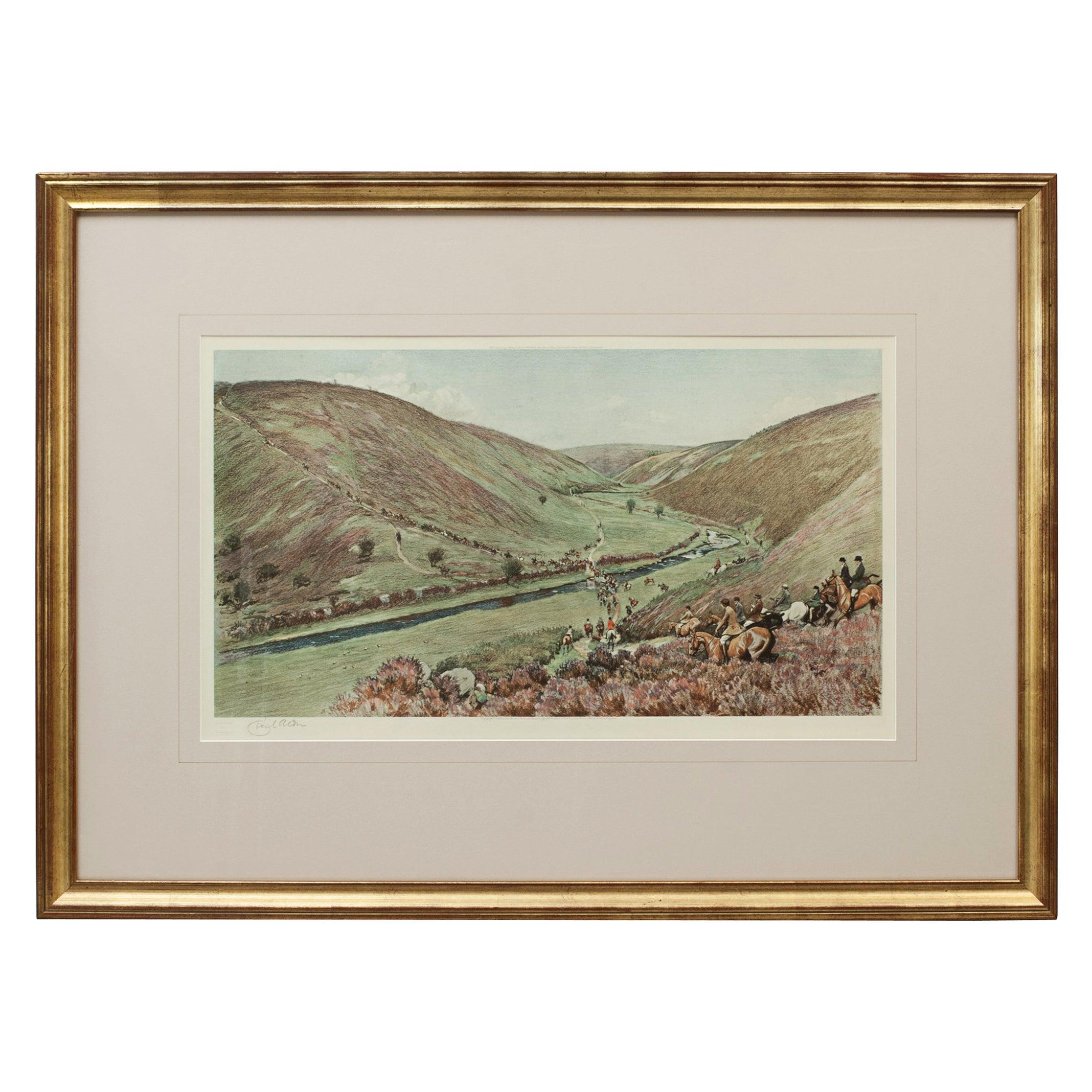 Antique Fox Hunting Print Devon & Somerset Crossing Badgworthy Water Cecil Aldin