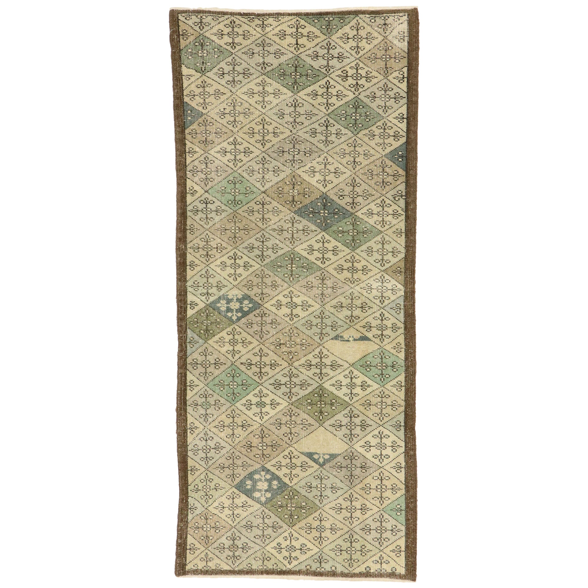 Zeki Muren Distressed Vintage Turkish Sivas Rug with Swedish Farmhouse Style