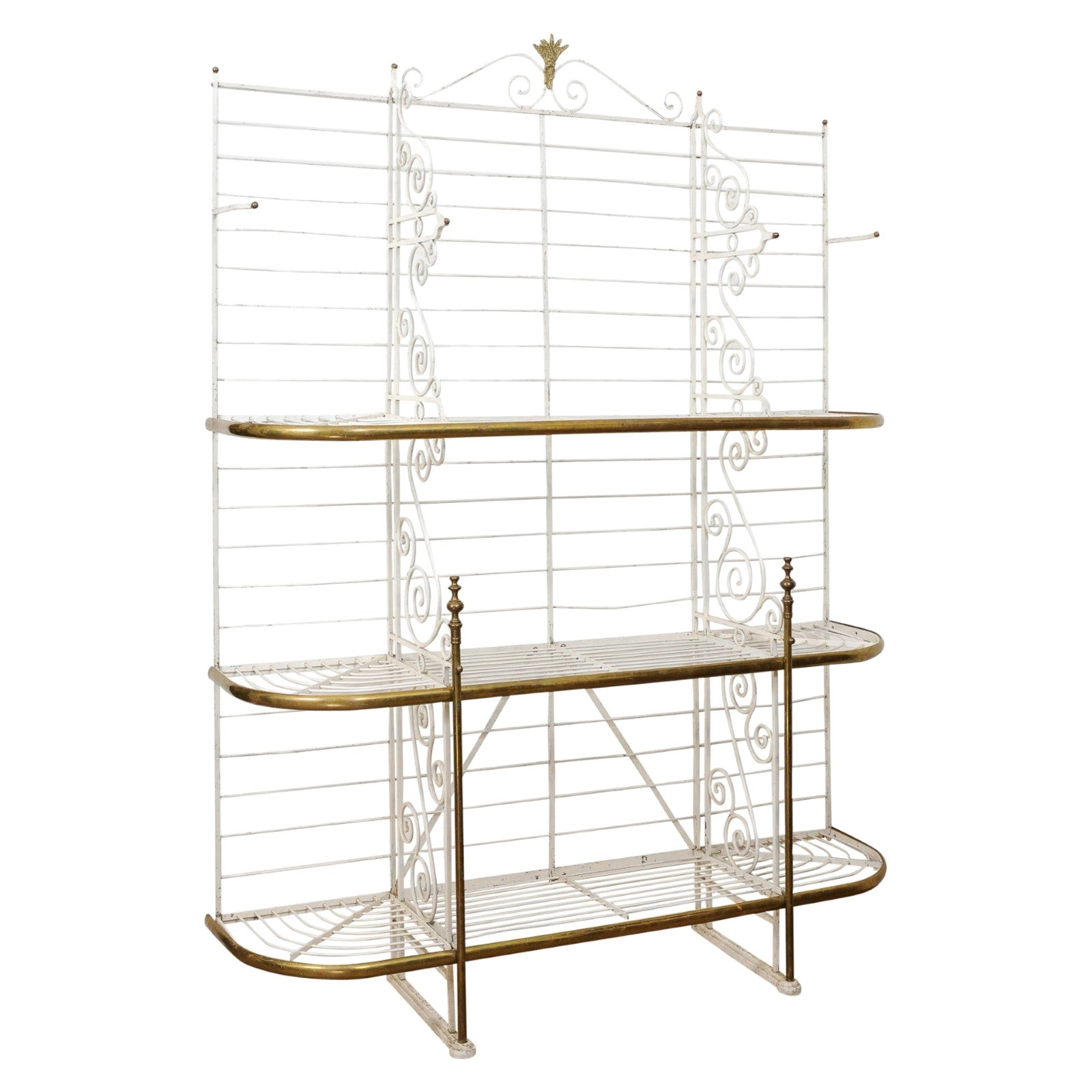 French Belle Époque 1890s White Painted Metal Baker's Rack with Brass Accents