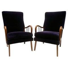 1950's Paolo Buffa Style Midcentury Italian Lounge Chairs
