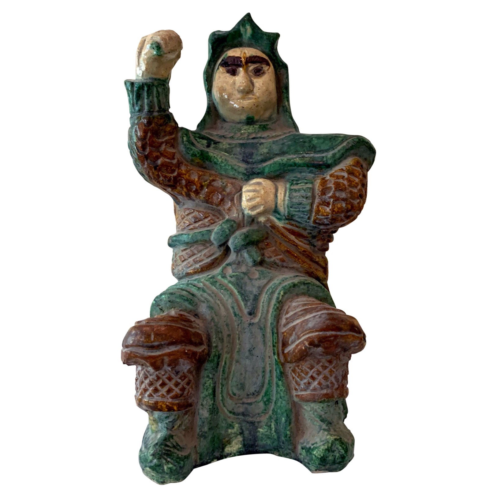 Chinese Ceramic Glazed Guardian Ming Dynasty
