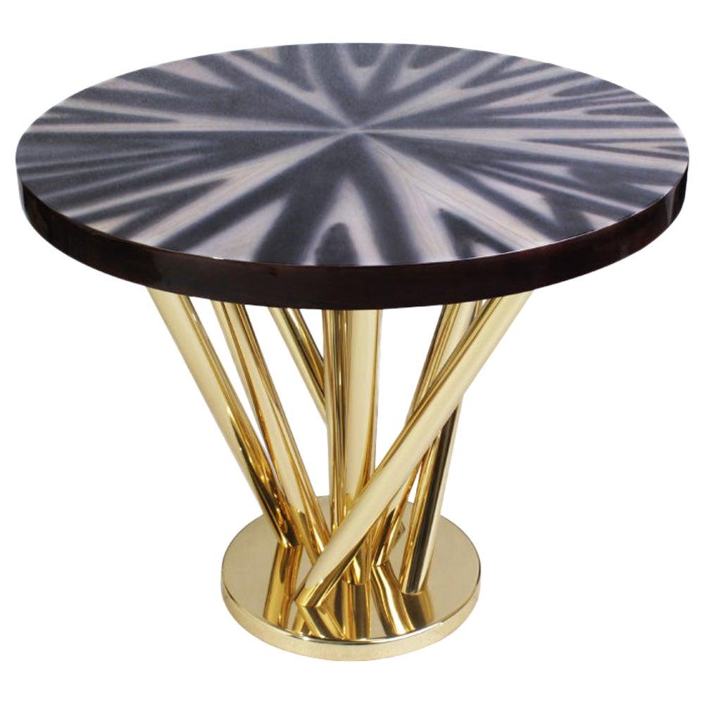 21st Century Nebula Side Table Rosewood Polished Brass