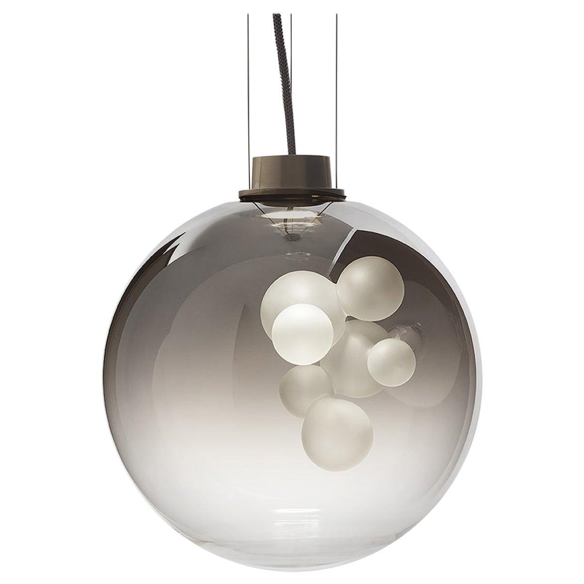 Soap Sphere, Melogranoblu, Suspension Lamp, Metallized Glass, Brushed Brass