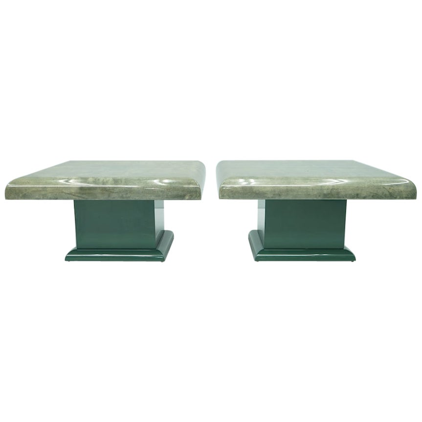Pair of Green Goatskin Side Tables by Aldo Tura, Italy, 1980s