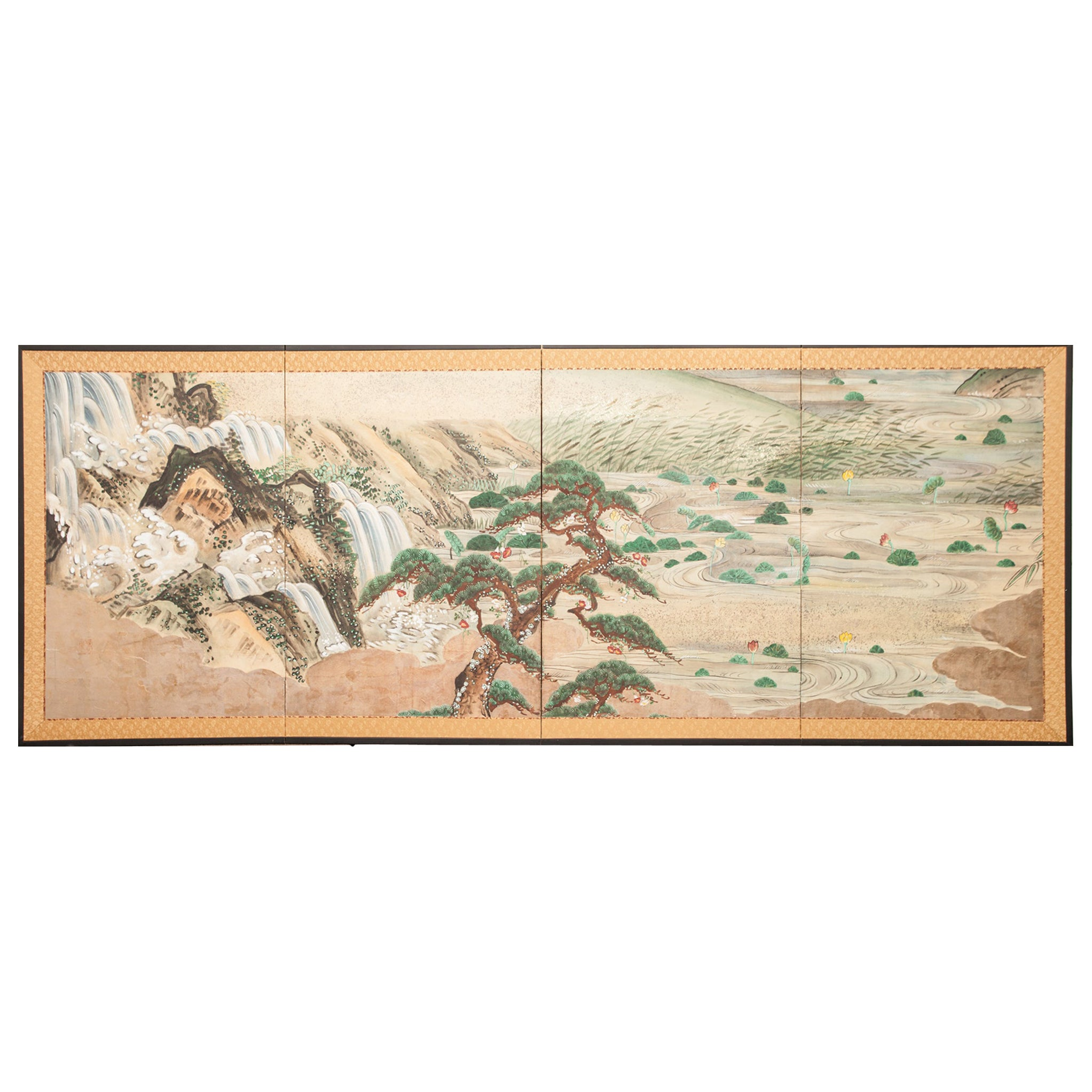 Japanese Four-Panel Screen Water Landscape