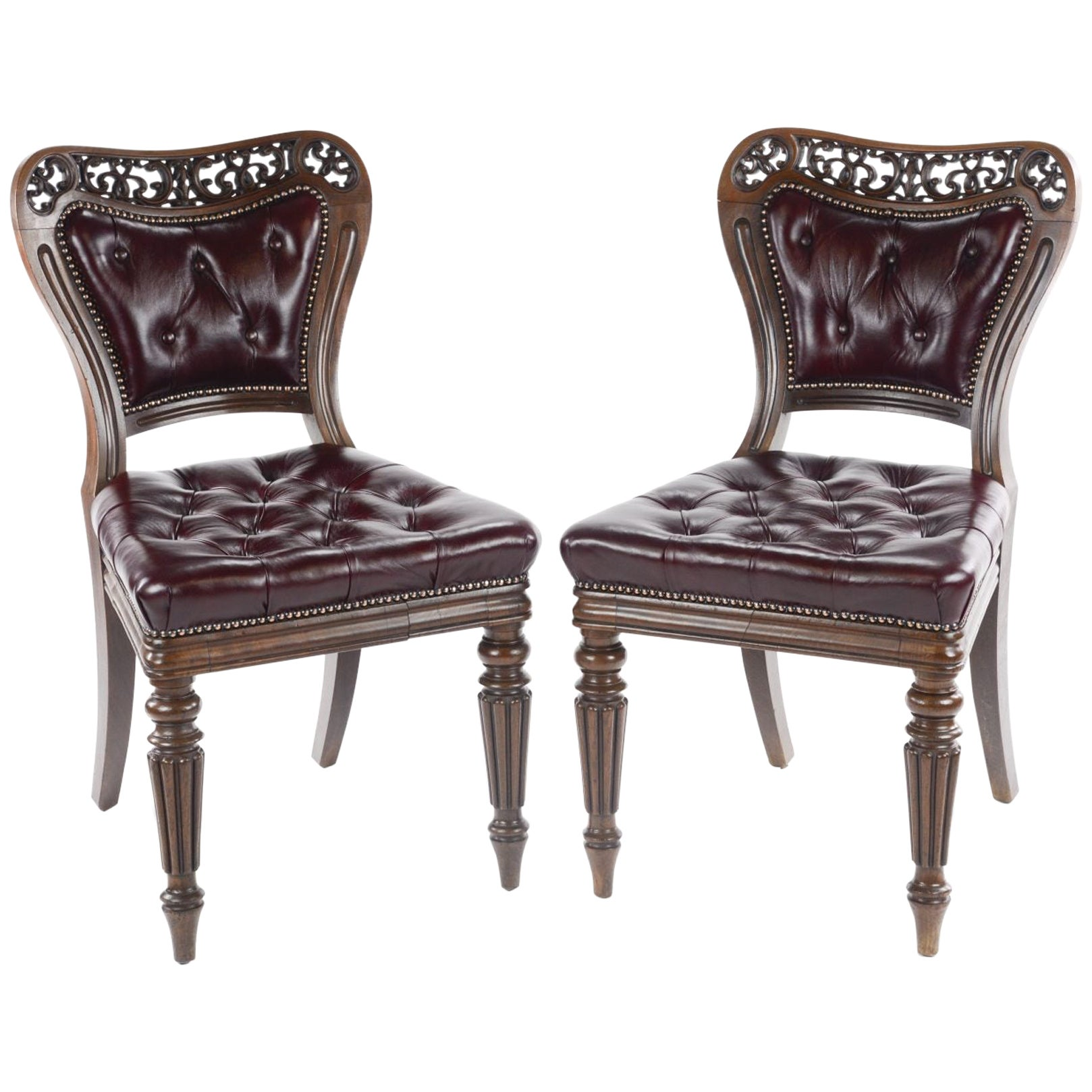 Pair of Very Fine George IV Library Chairs, Firmly Attributed to Gillows