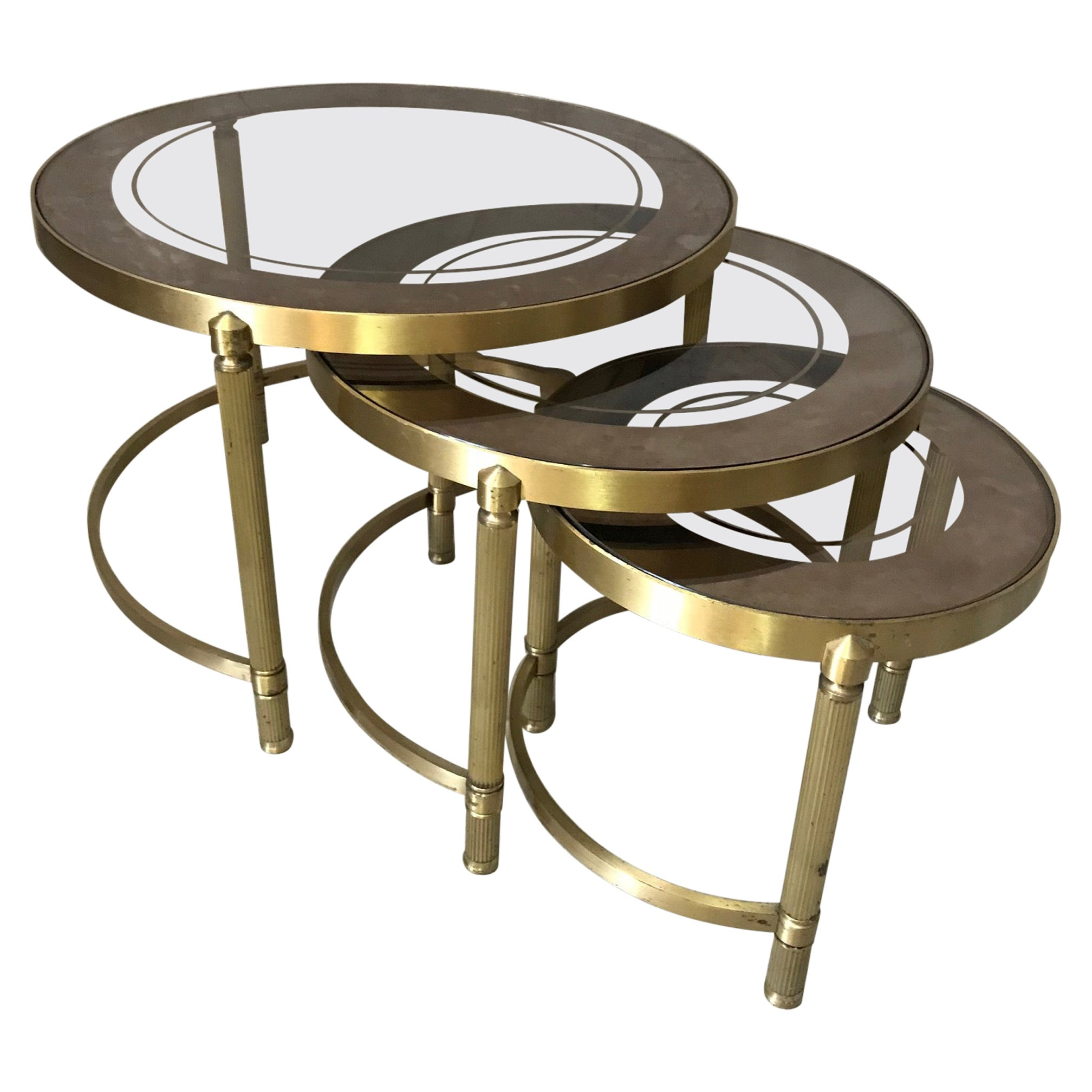 20th Century French Gilded Brass and Mercury Glass Nesting Tables, 1950s