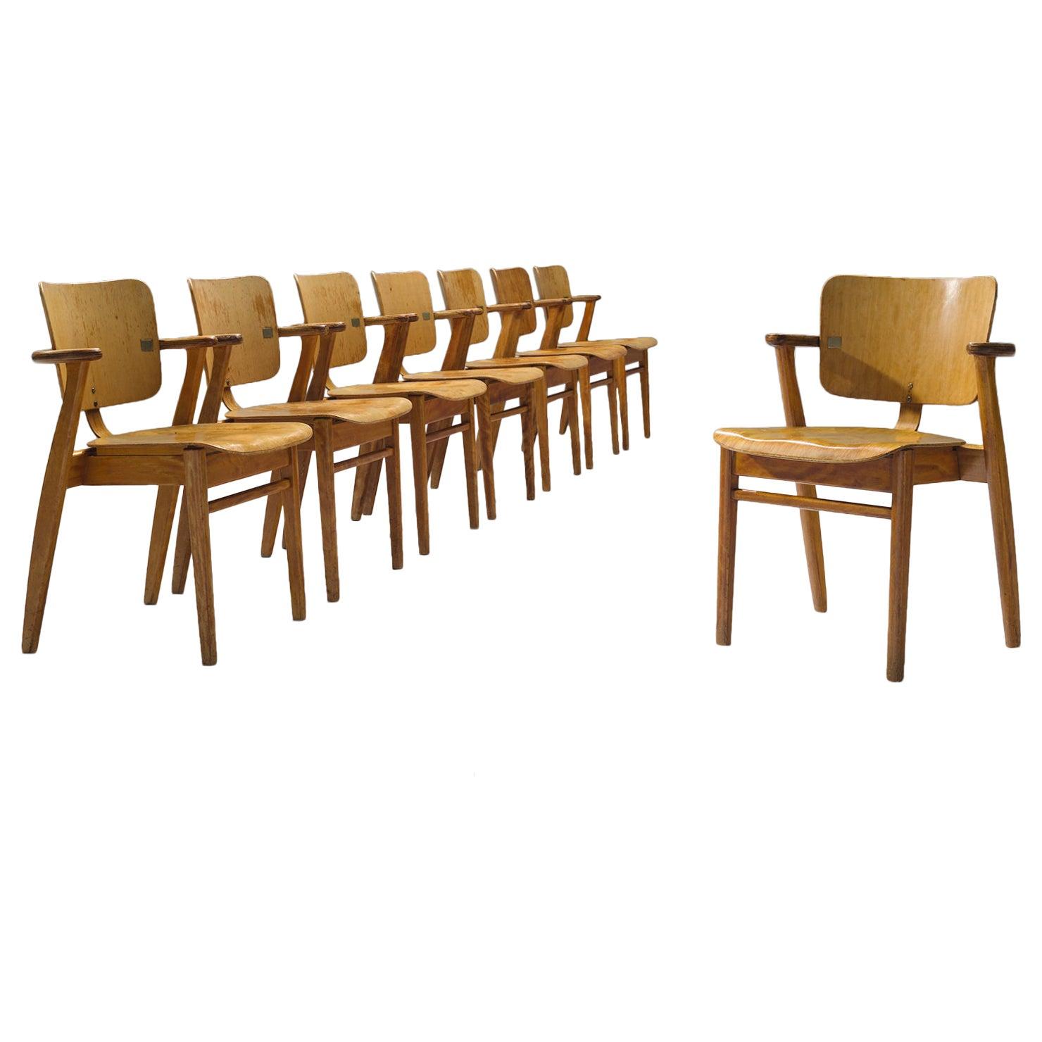 Ilmari Tapiovaara Set of Eight 'Domus' Dining Chairs
