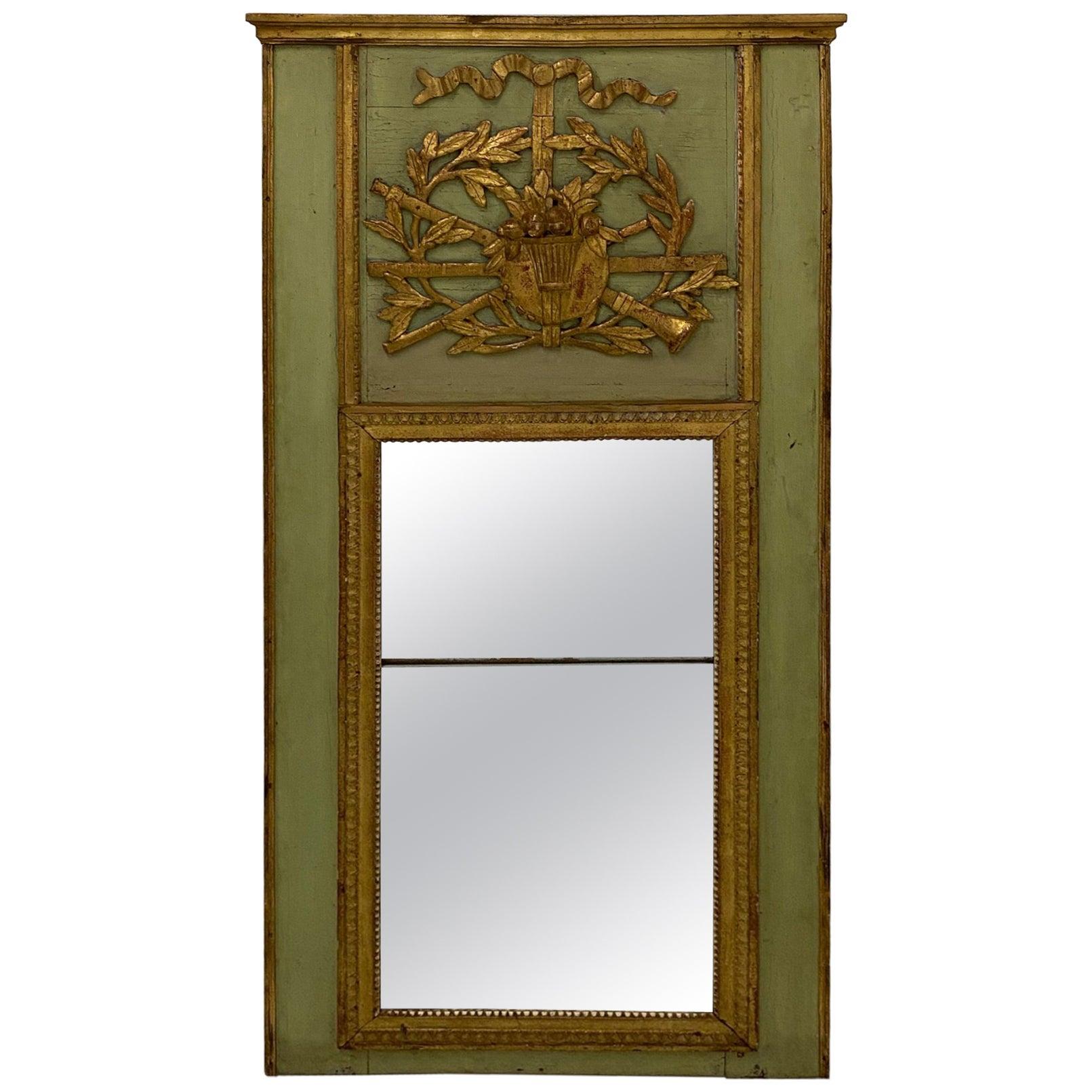 Magnificent Large Antique Giltwood Louis XVI Trumeau Mirror