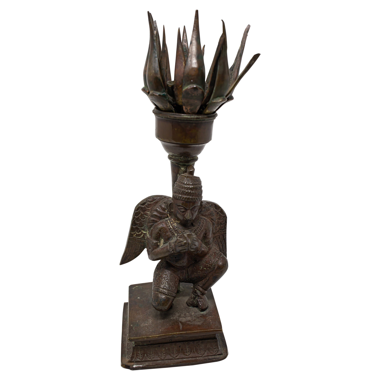 19th Century Tibetan Bronze Lotus Censer