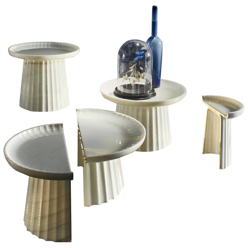Contemporary Corinthia Coffee Small Table in Polished Marble