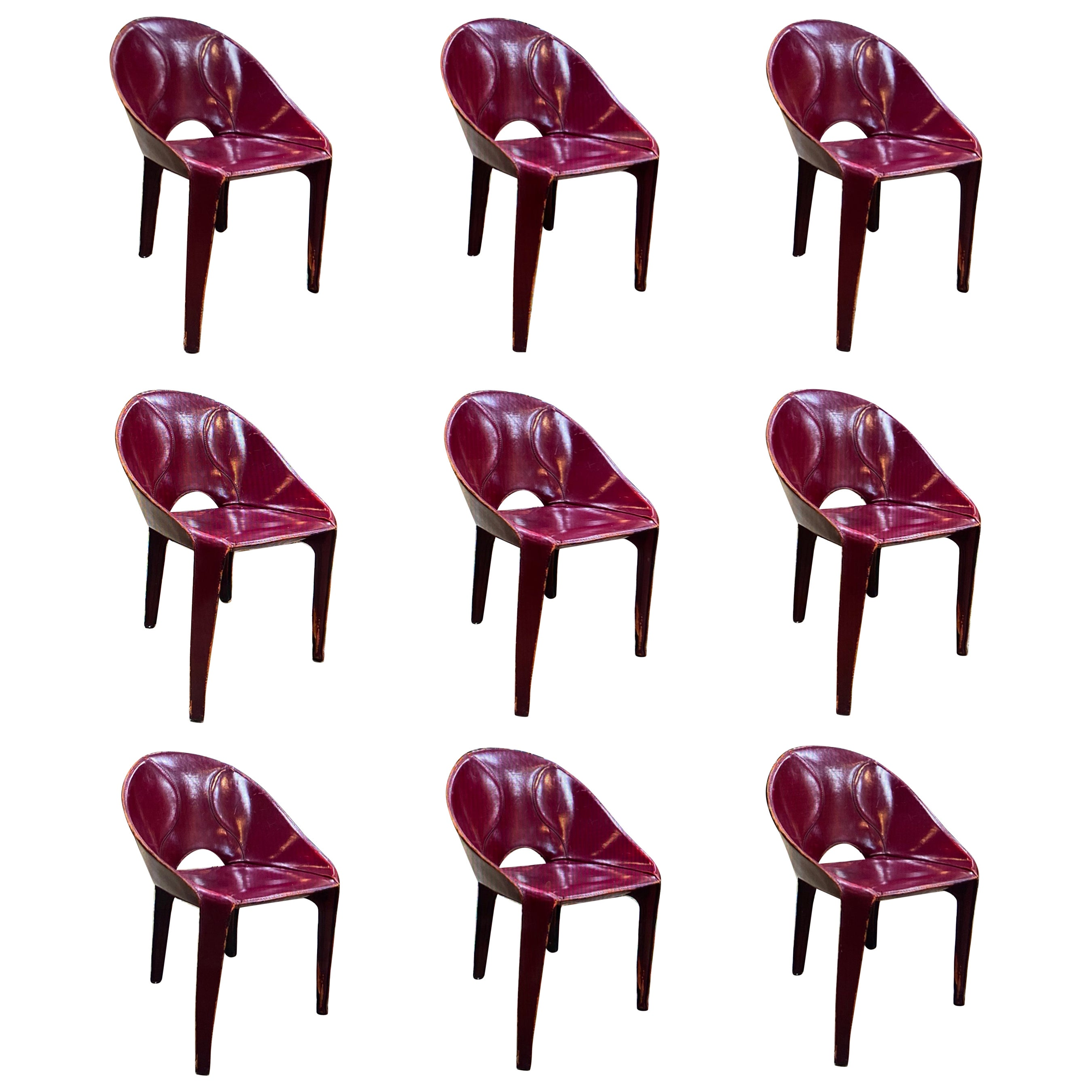 Set of 9 Dining Chairs for Cassina Studio, 1970s, Italy
