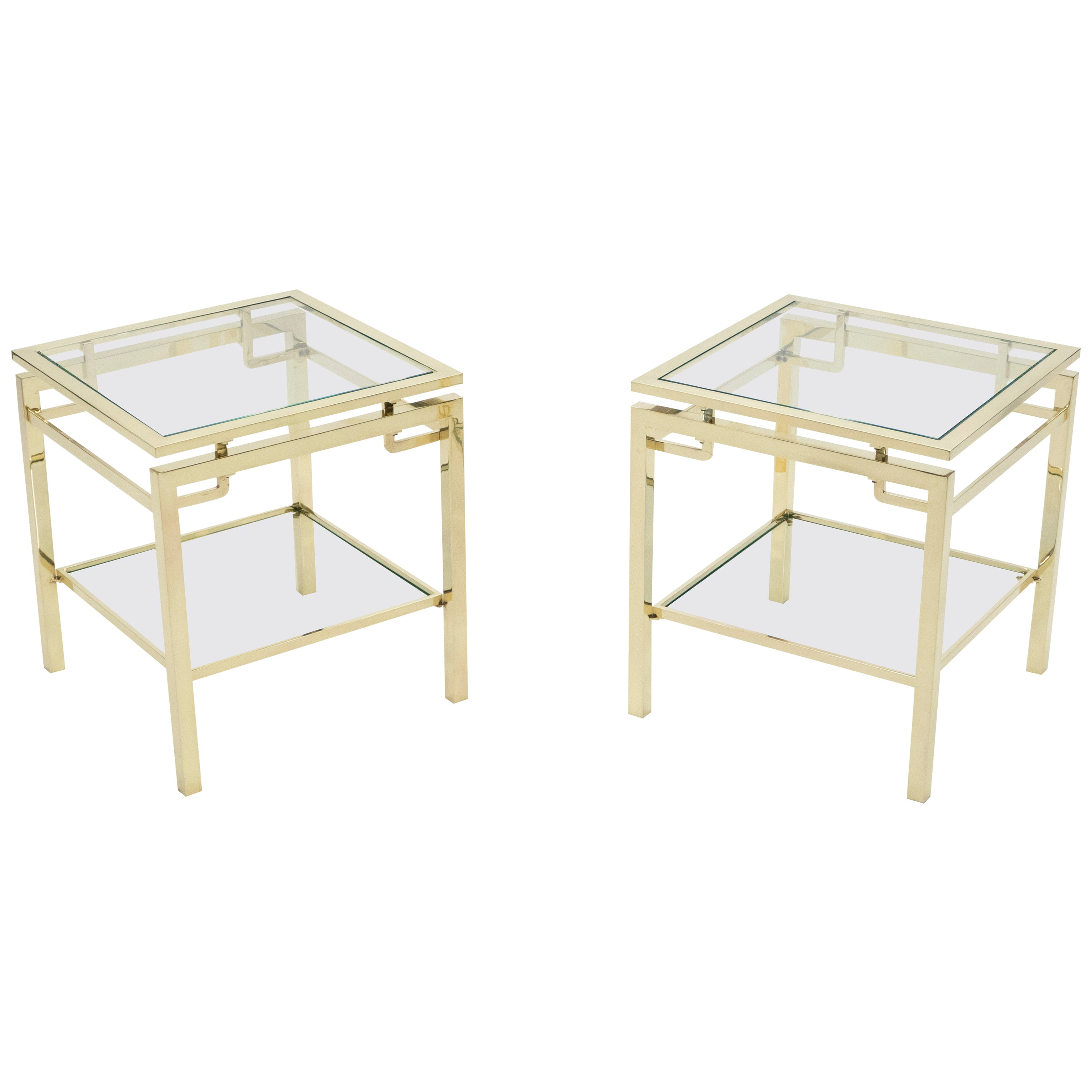 French Brass Two-Tier End Tables Guy Lefevre for Maison Jansen, 1970s