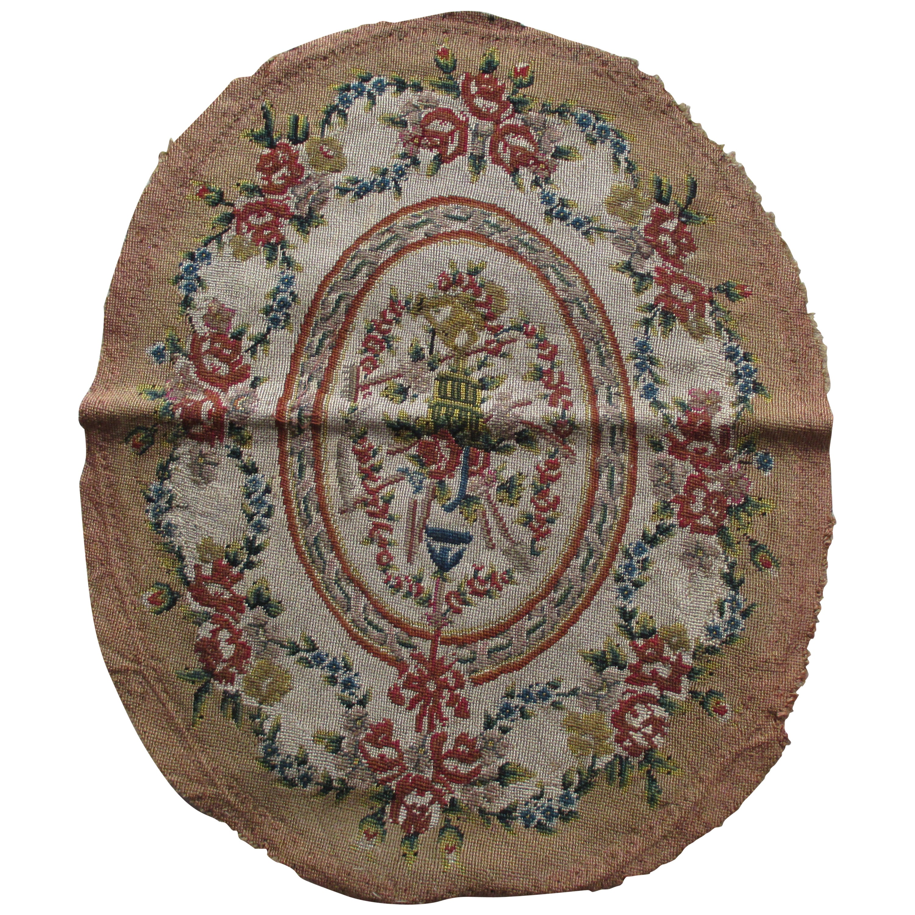 Antique Aubusson Oval Chair Back Cover Fragment