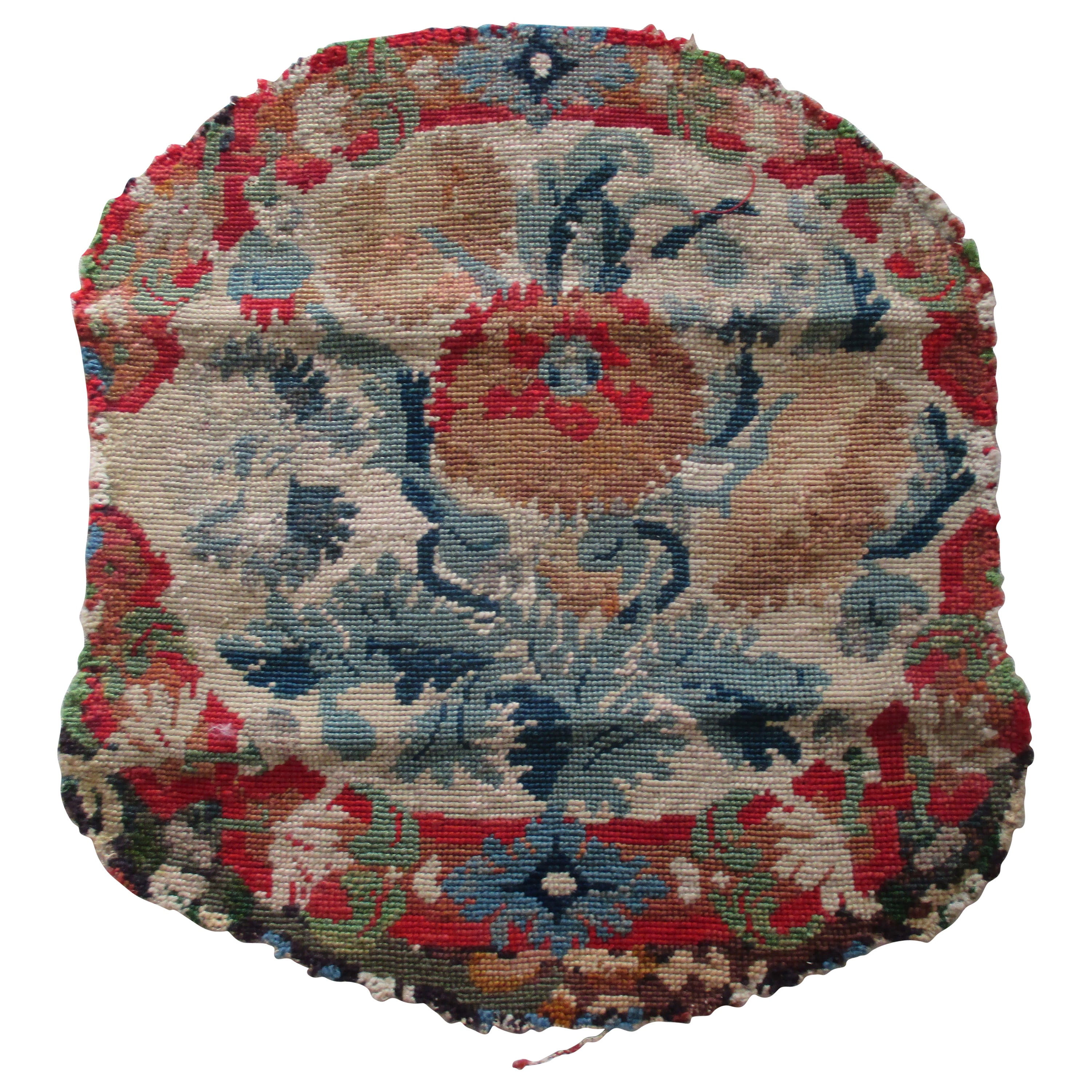 Antique Floral Needlepoint Seat Cover Tapestry Fragment