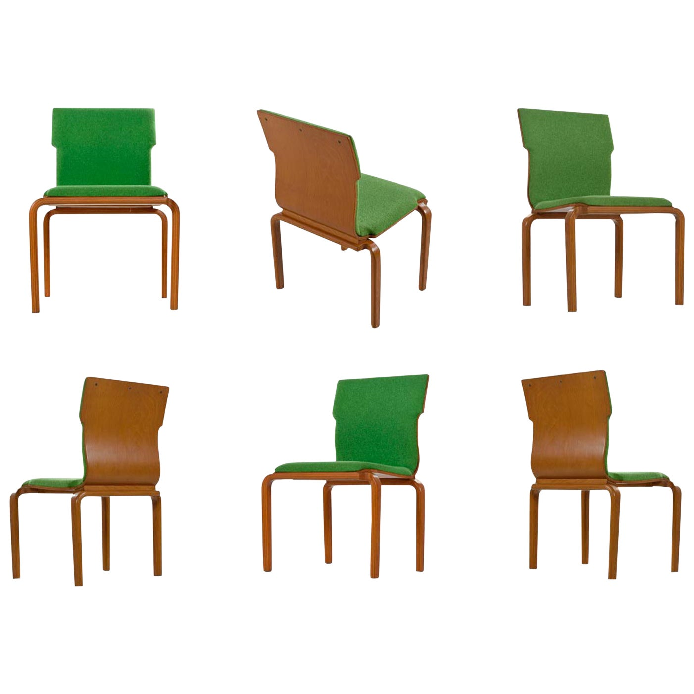 Thonet Style Mid-Century Modern Maple Bent Ply Green Wool Tweed Dining Chair Set