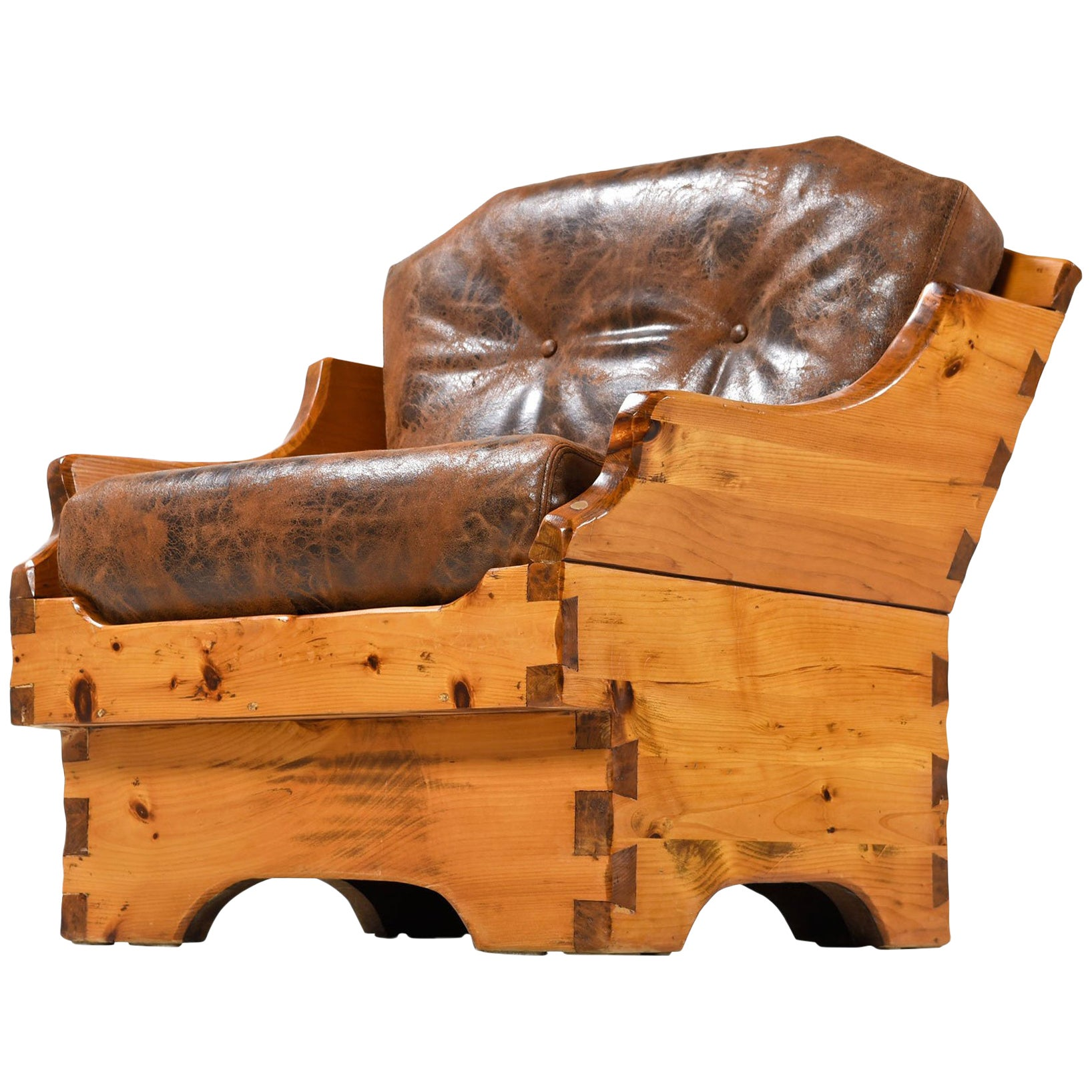 1950s Handmade Rustic Arts & Crafts Style Armchair, Solid Pine and Leather