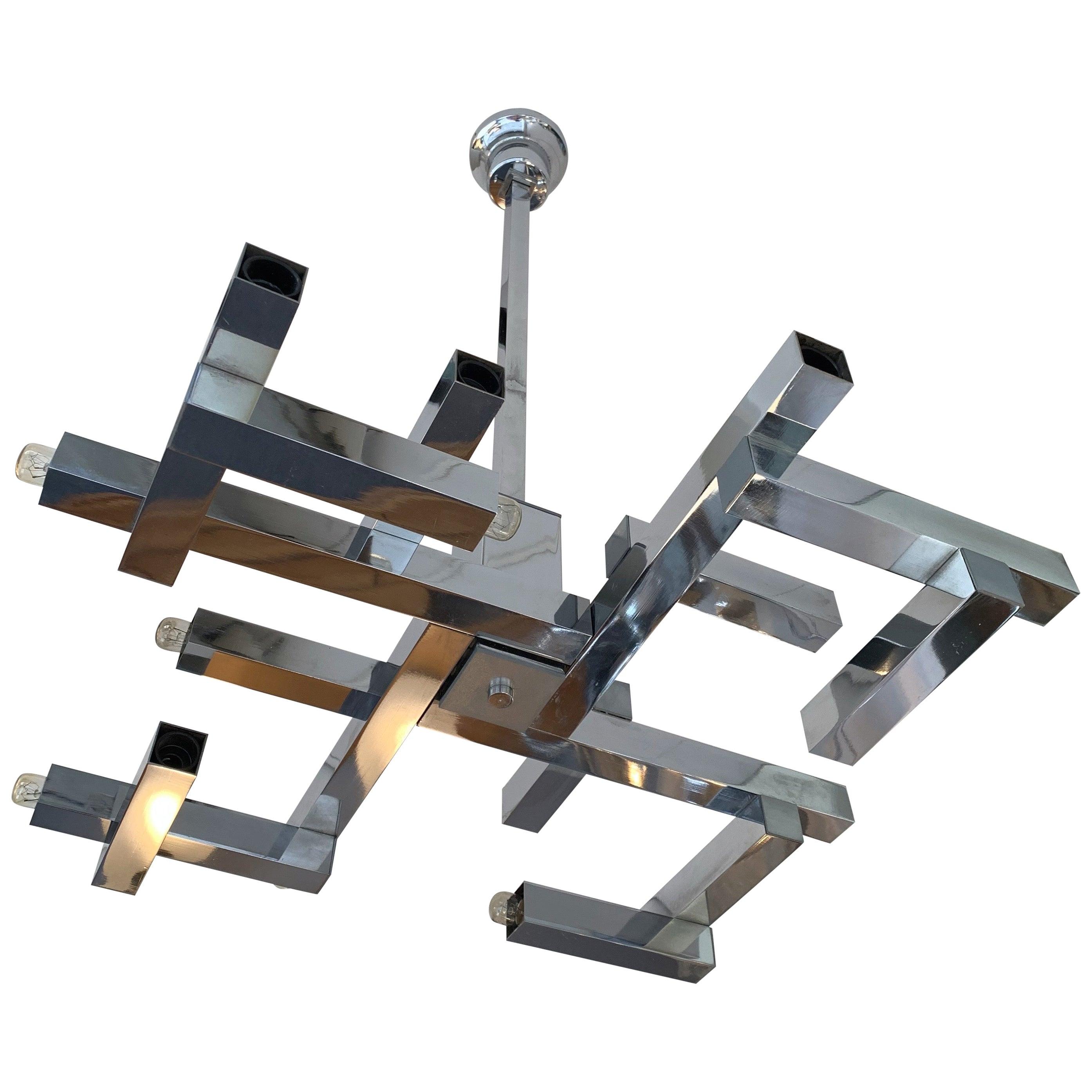 Chandelier Metal Chrome Futura by Sciolari, Italy, 1970s