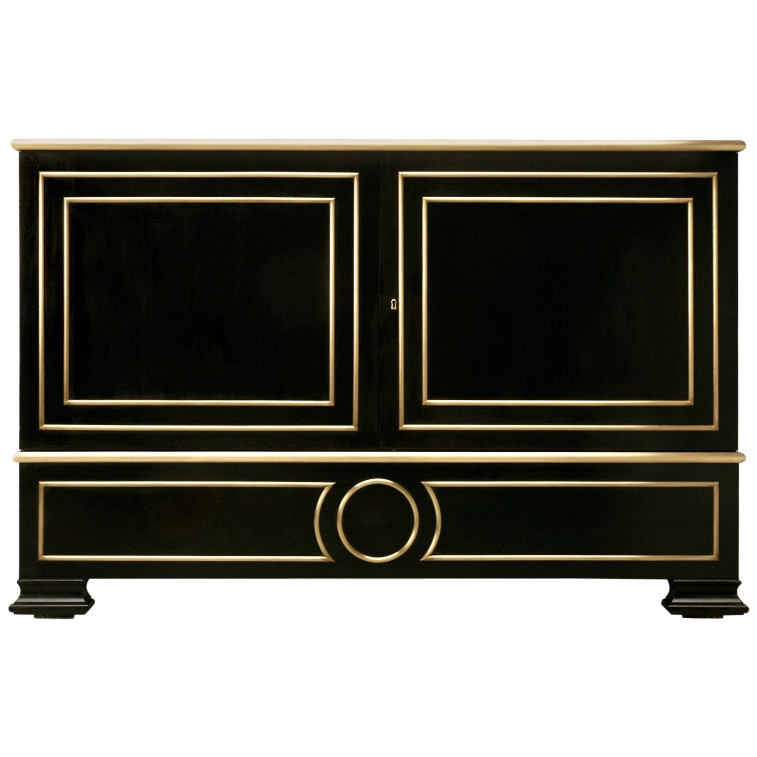 Ebonized Mahogany Directoire Style Buffet with Bronze Trim
