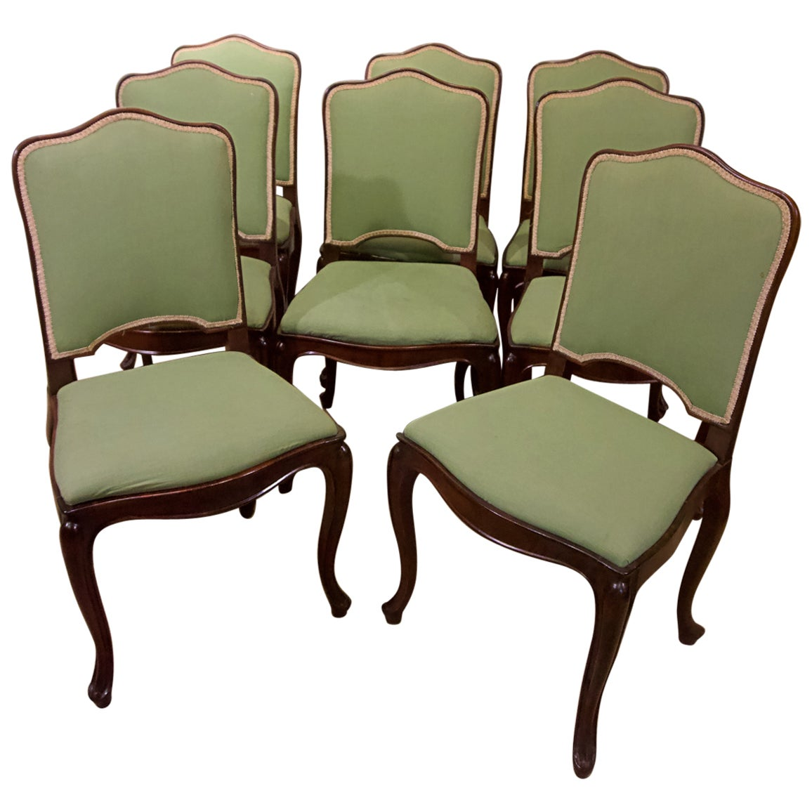 Set of Eight Louis XV Style Mahogany Dining Chairs