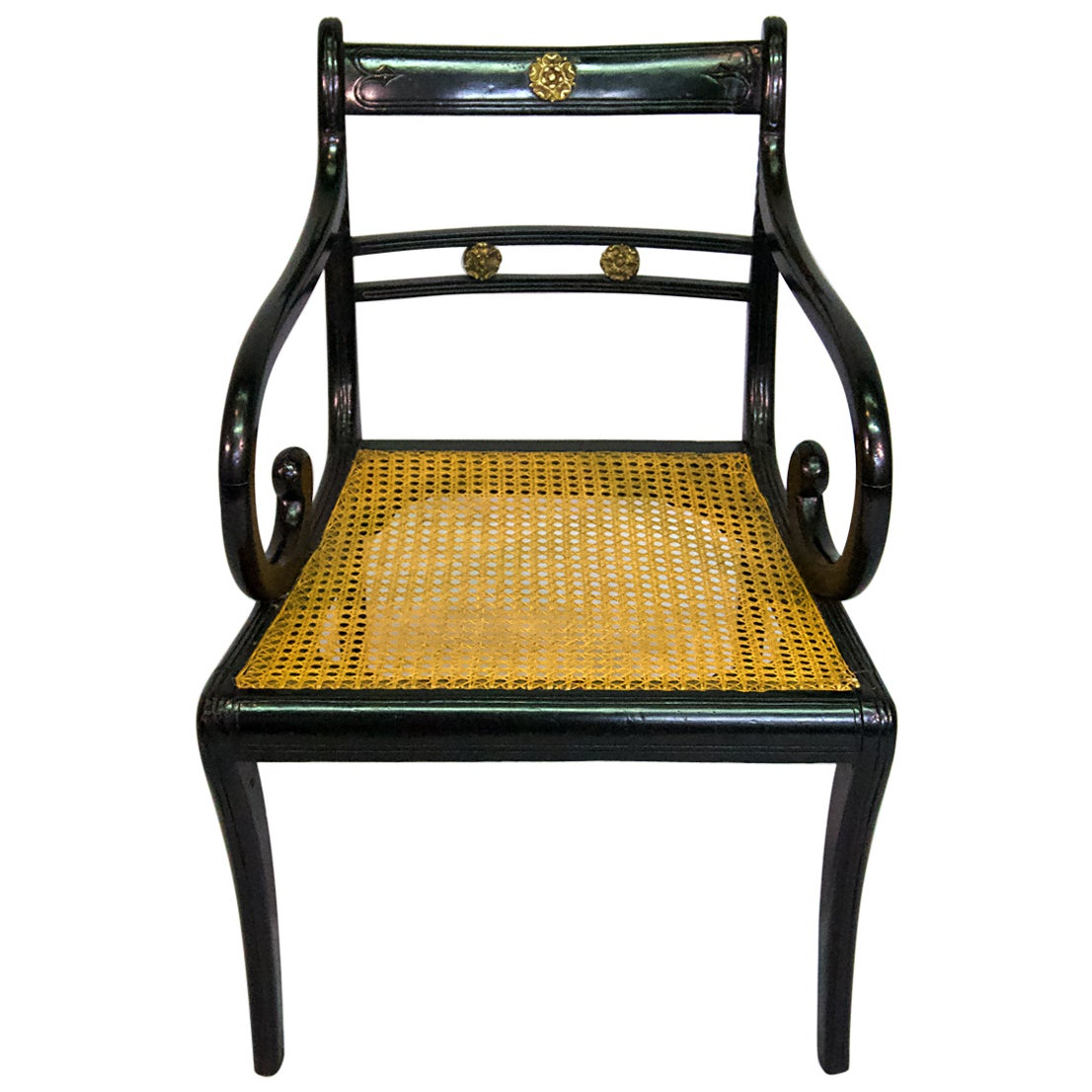 Regency Ebonized Caned Armchair