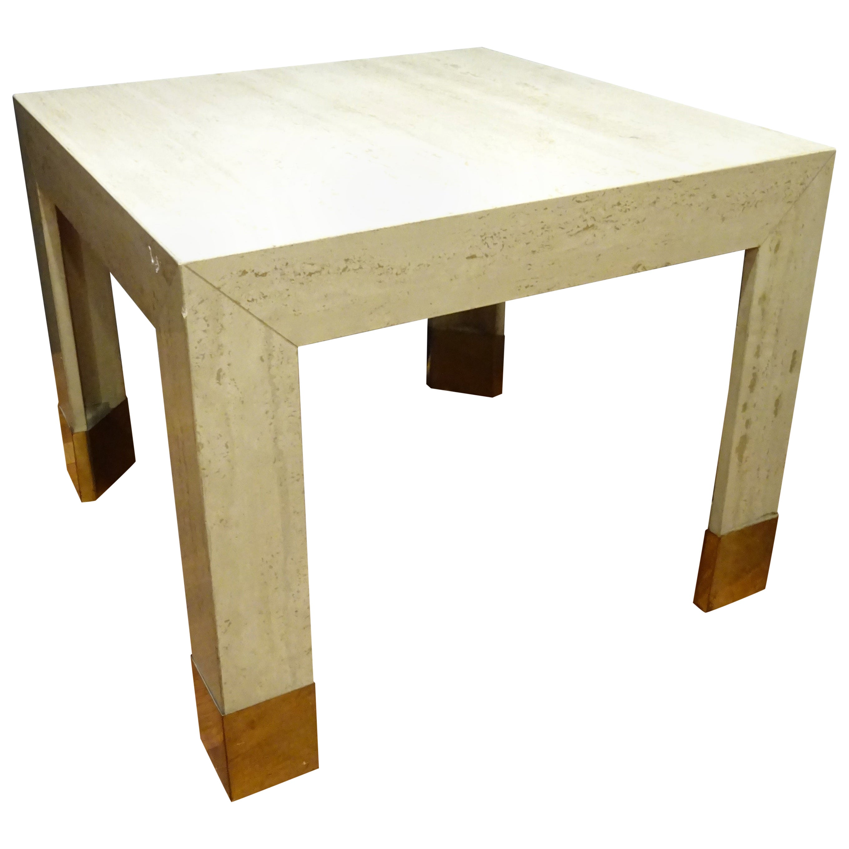 Italian Beige  Coffetable Travertine Marble and Golden Brass Coffee Table