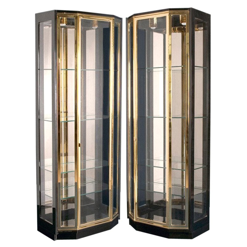 Pair of Henredon Black Lacquered and Brass Display Cabinets/Vitrines
