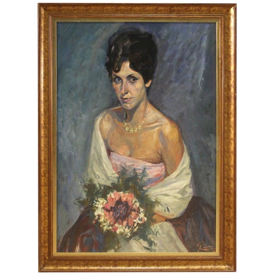 20th Century Mixed-Media on Cardboard Italian Lady Portrait Painting, 1960