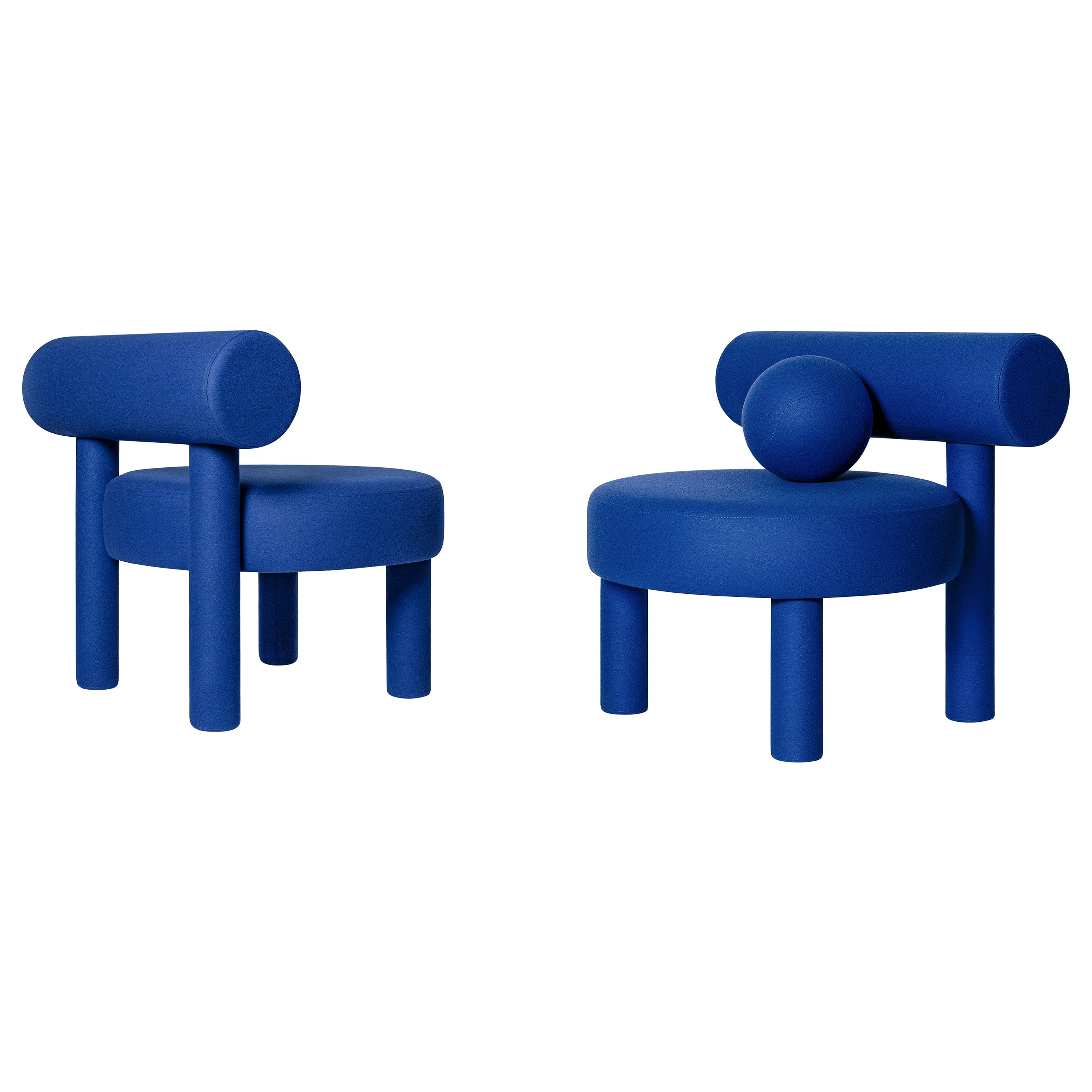 Set of Two Modern Low Chair Gropius CS1 in Fire Retardant Wool by NOOM