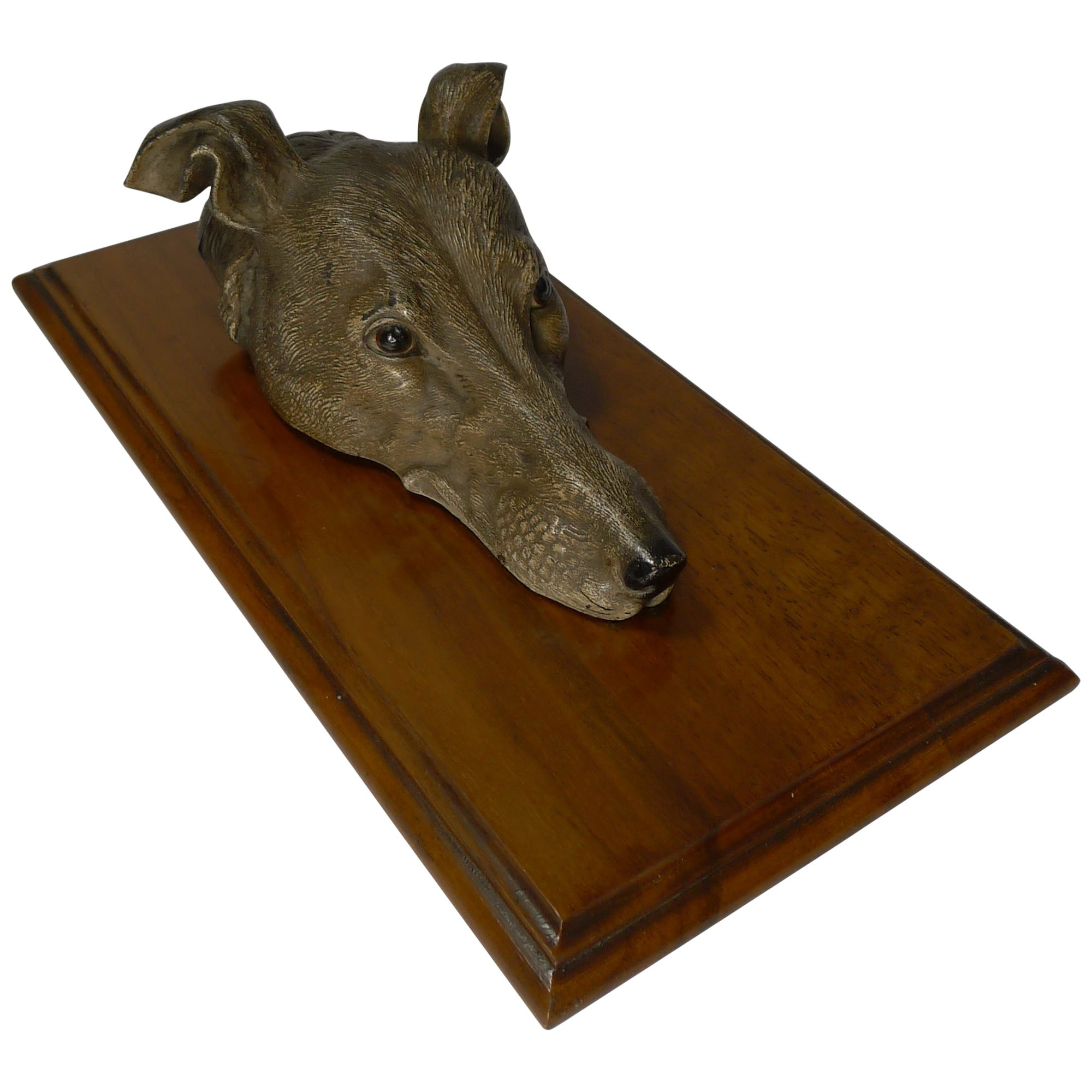 Large Cold Painted Bronze Letter / Desk Clip, Dog / Greyhound, circa 1890