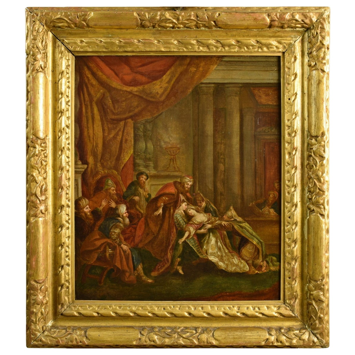 18th Century, French Painting with Esther's Fainting before Ahasuerus