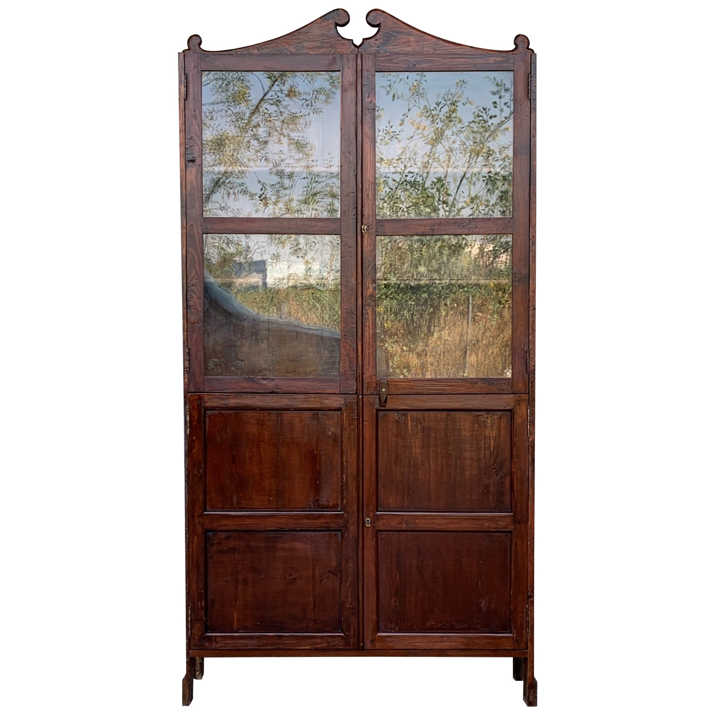 18th Century Cupboard or Bookcase with Glass Vitrine, Walnut, Spain Restored